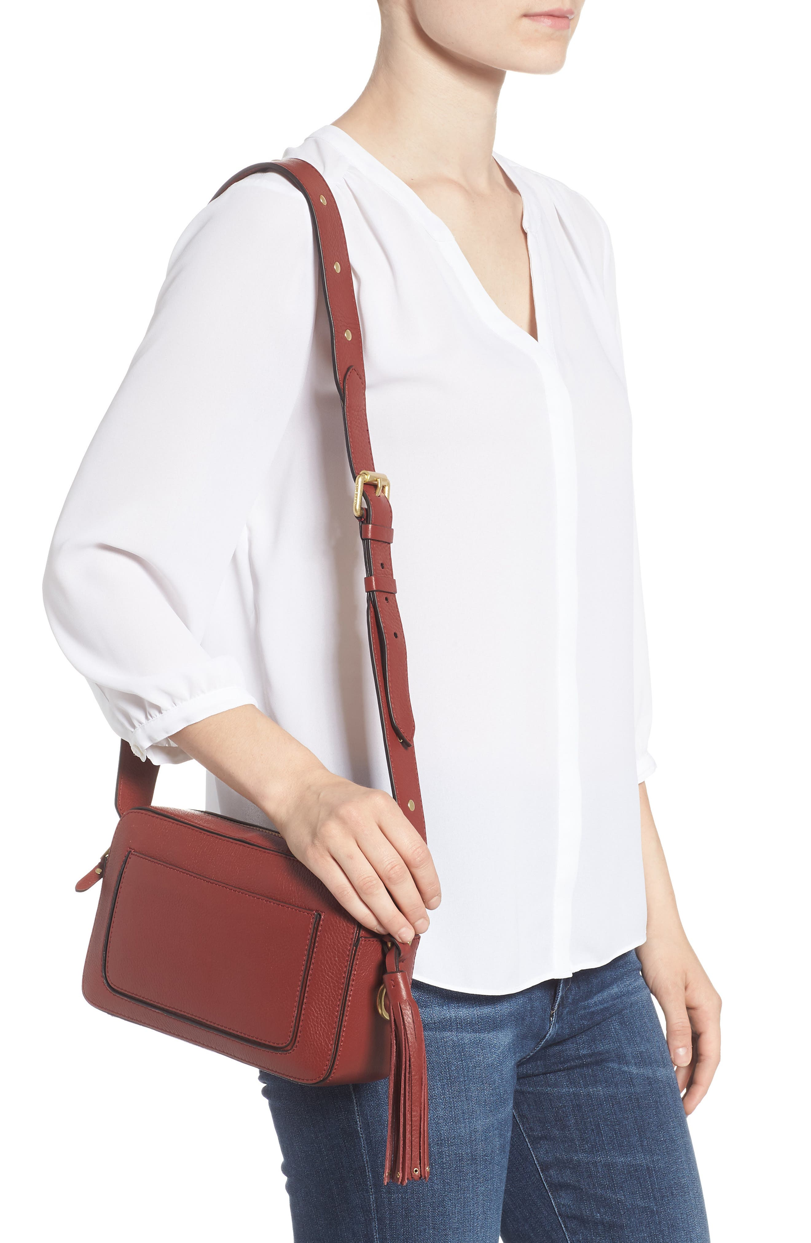Cassidy RFID Pebbled Leather Camera Bag,                             Alternate thumbnail 6, color,