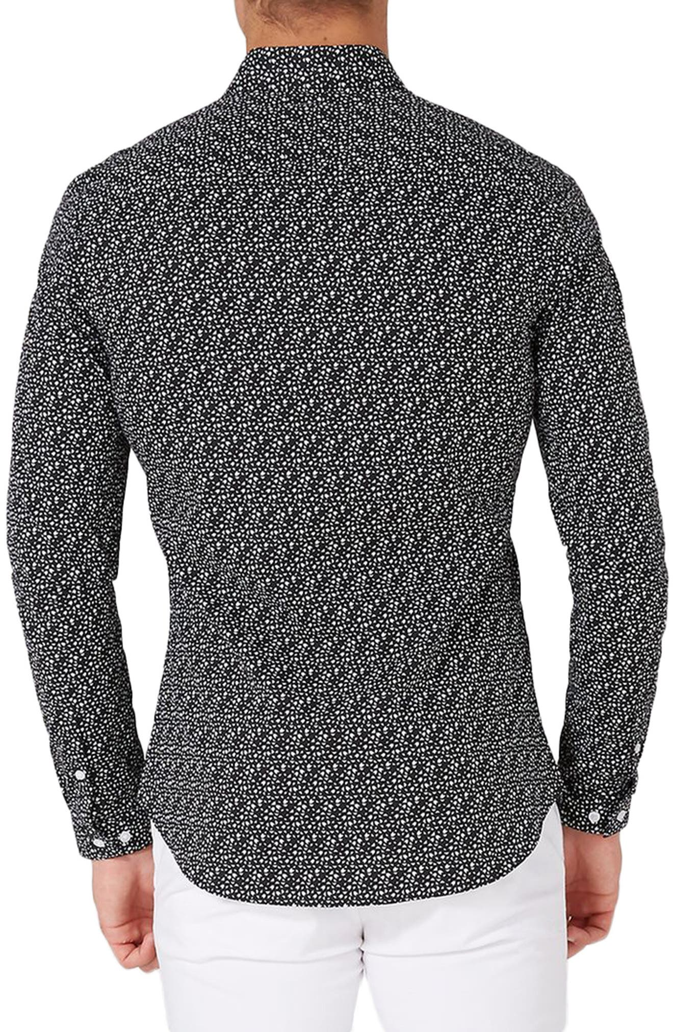 Skinny Fit Geo Print Stretch Woven Shirt,                             Alternate thumbnail 3, color,                             002
