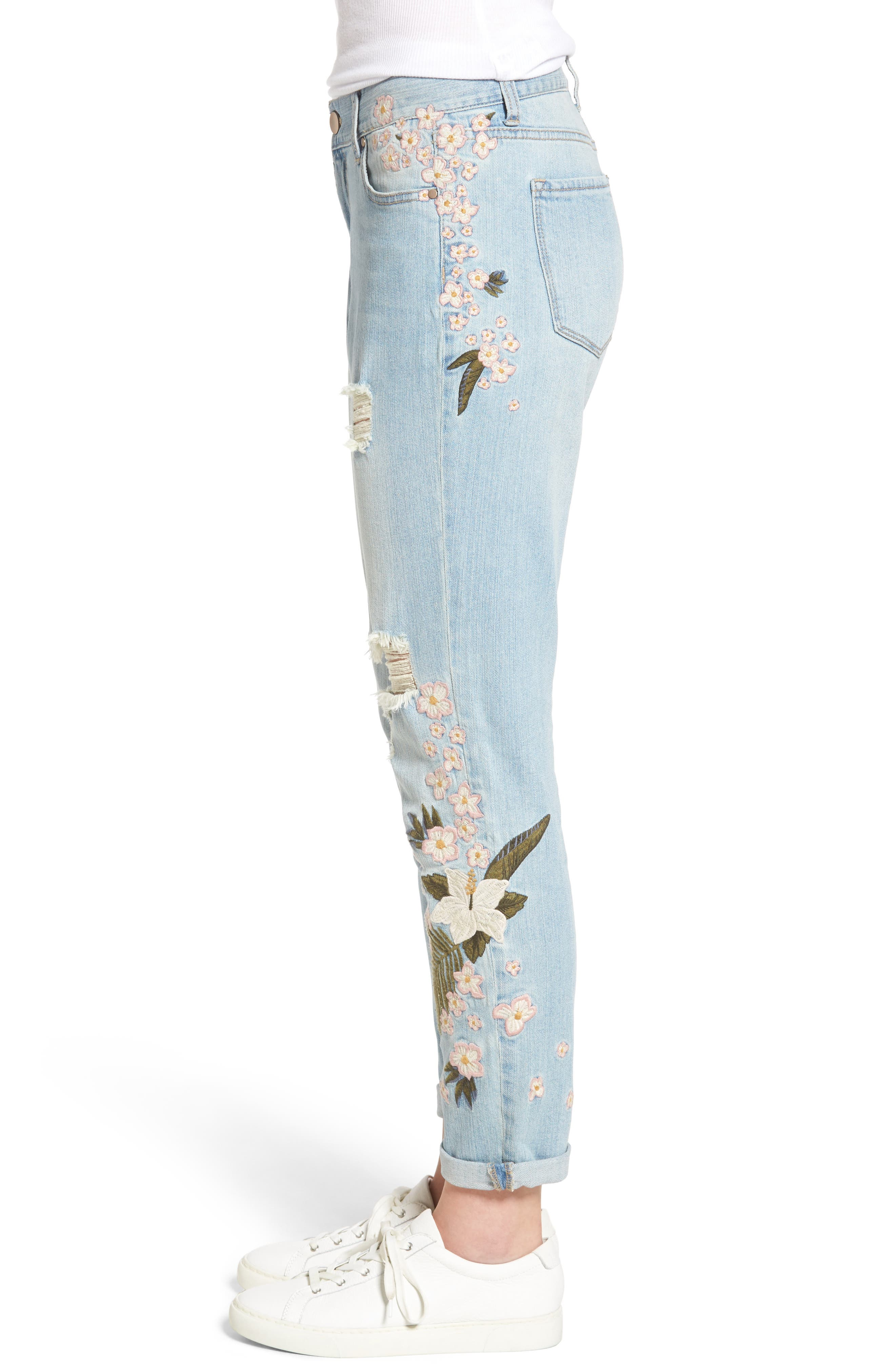 Floral Embroidered Boyfriend Jeans,                             Alternate thumbnail 4, color,                             430