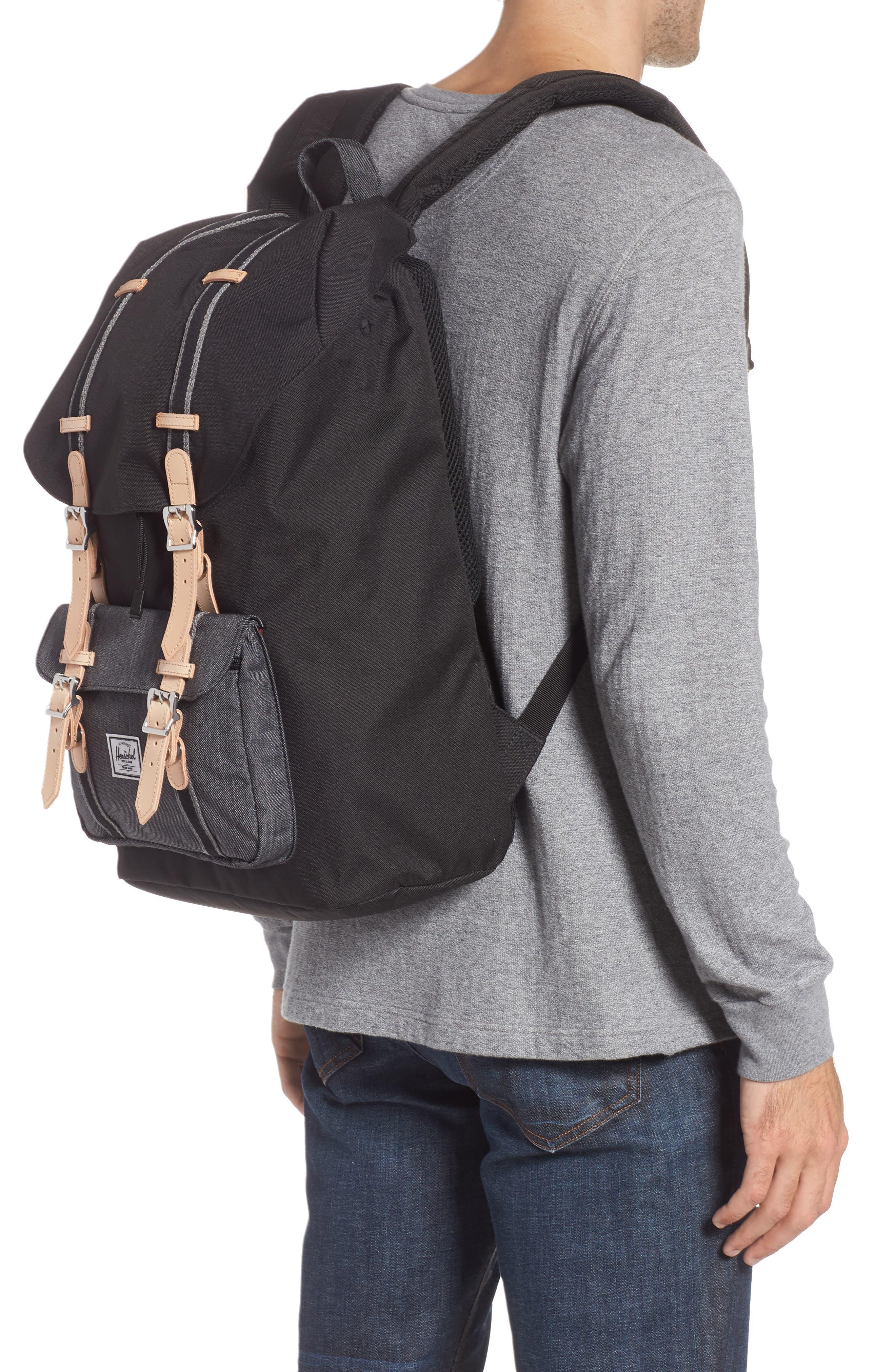 Little America Offset Backpack,                             Alternate thumbnail 2, color,                             BLACK/ BLACK DENIM