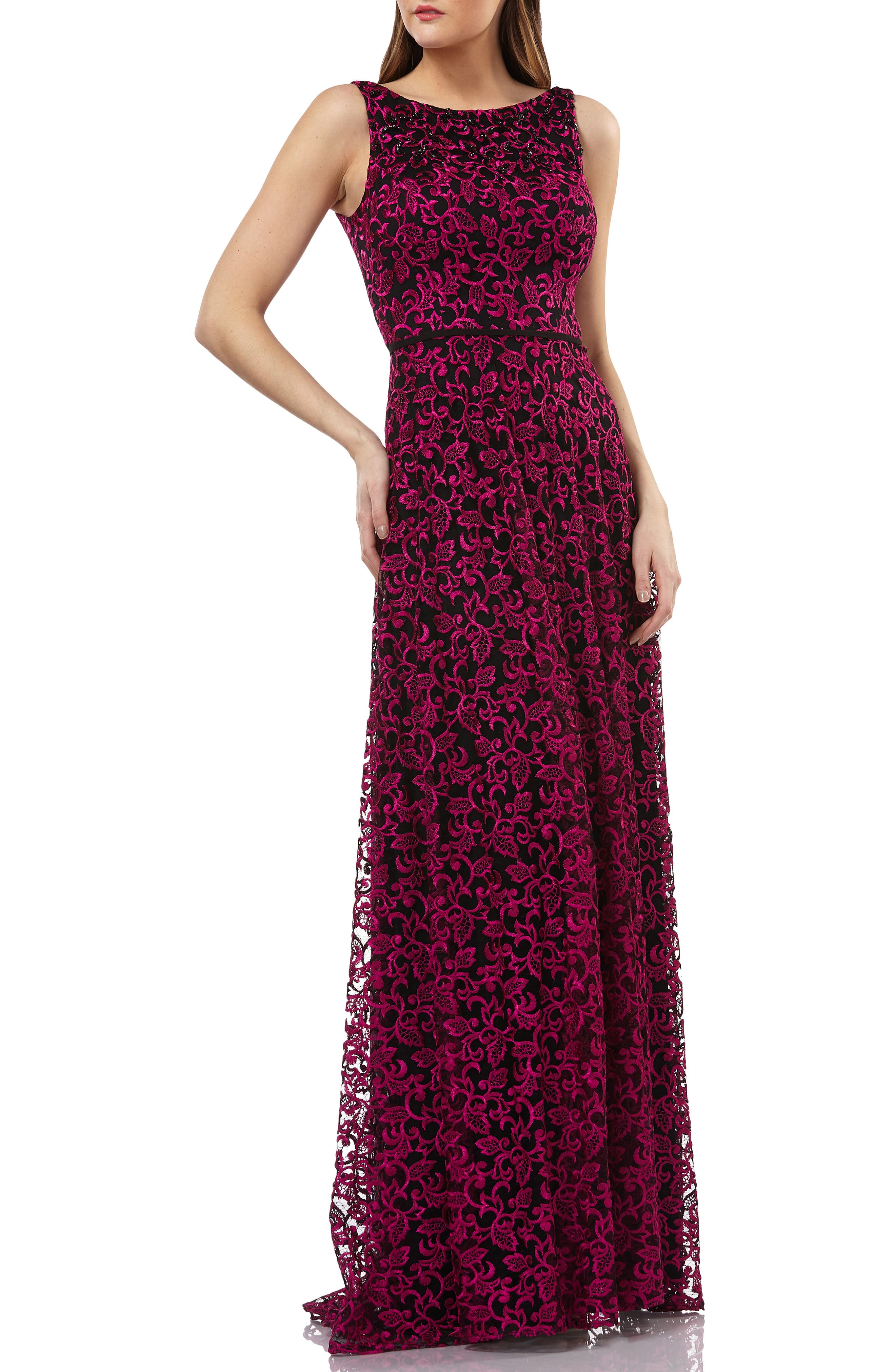 CARMEN MARC VALVO INFUSION Embellished Lace Gown in Black/ Fuchsia