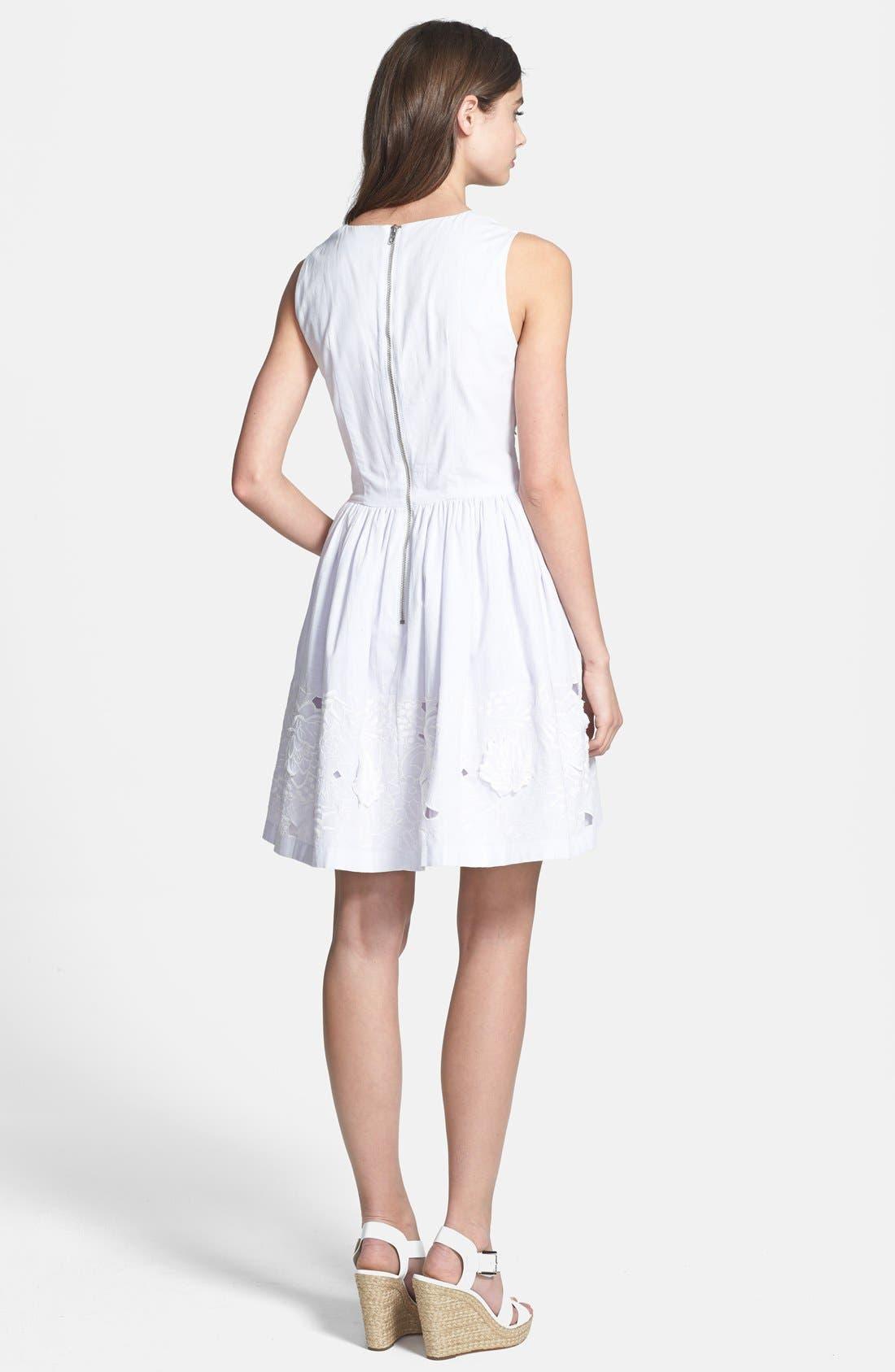 Lotus Cutout Cotton Fit & Flare Dress,                             Alternate thumbnail 3, color,                             020