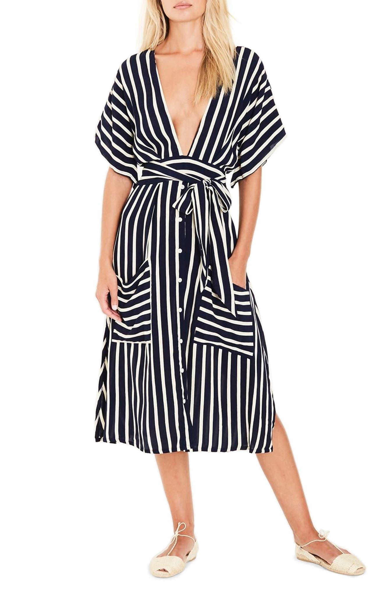Milan Stripe Midi Dress,                         Main,                         color, 401