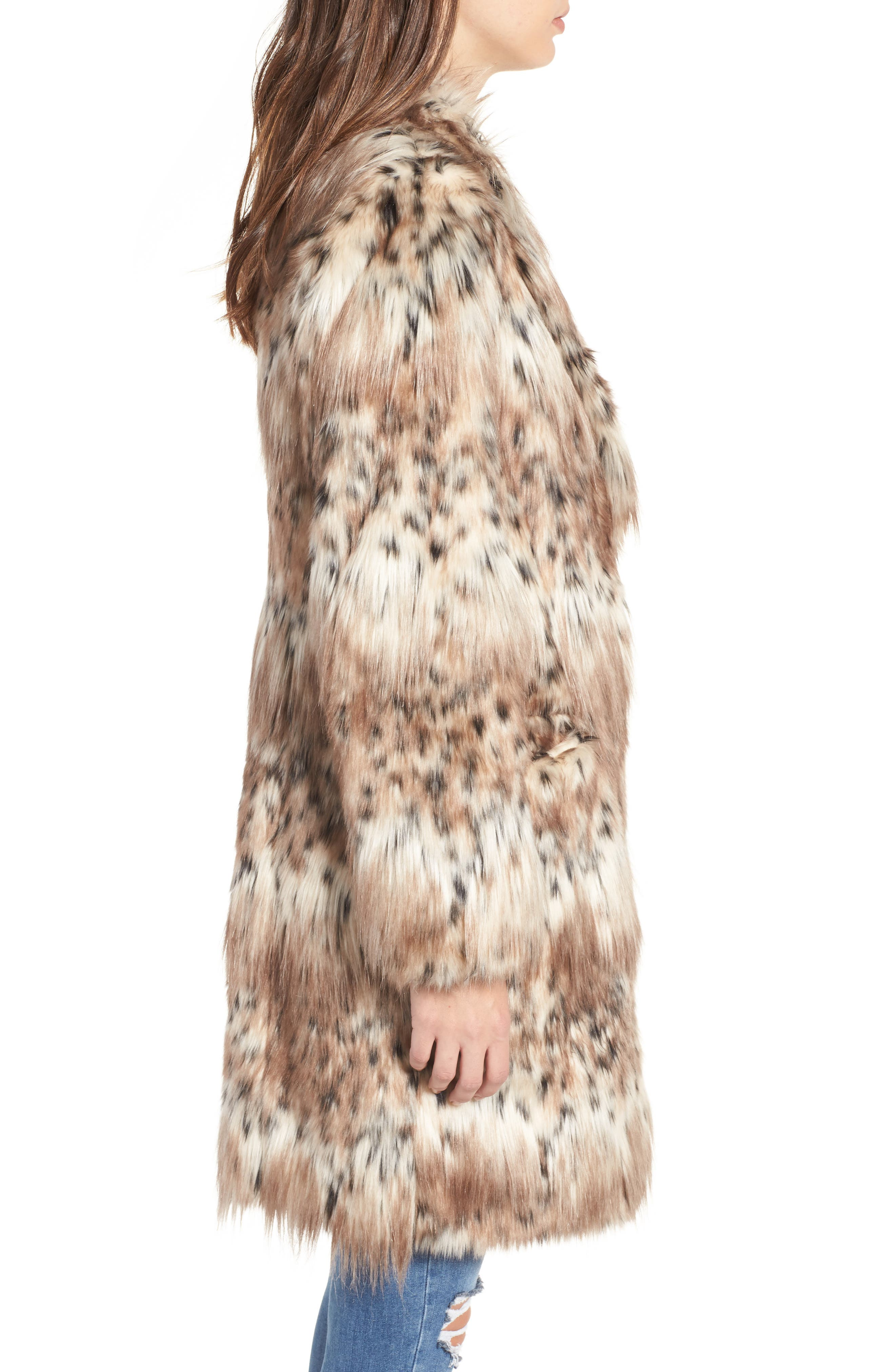 Stella Faux Fur Coat,                             Alternate thumbnail 3, color,                             250