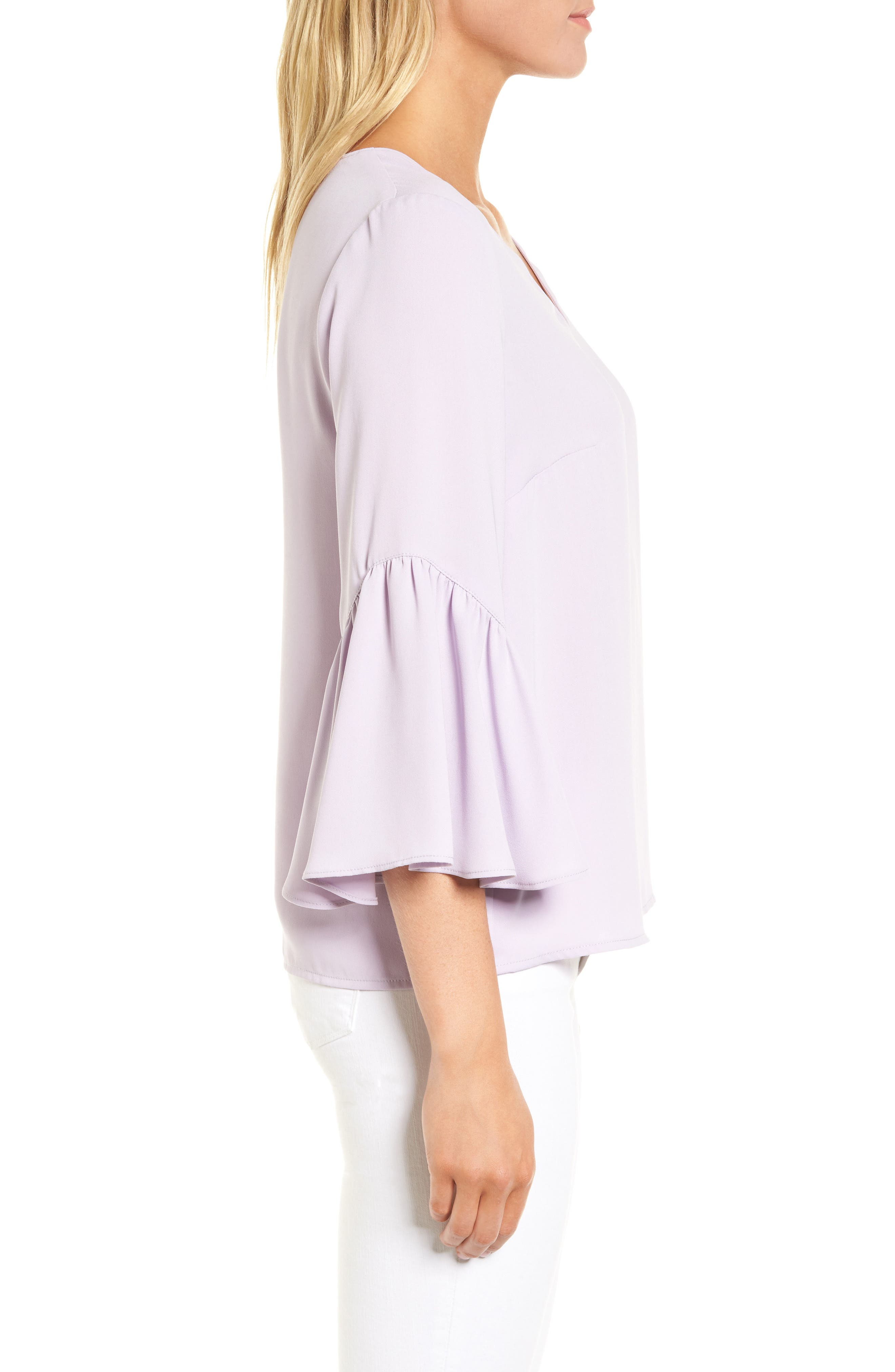 Asymmetrical Bell Sleeve Top,                             Alternate thumbnail 3, color,                             530