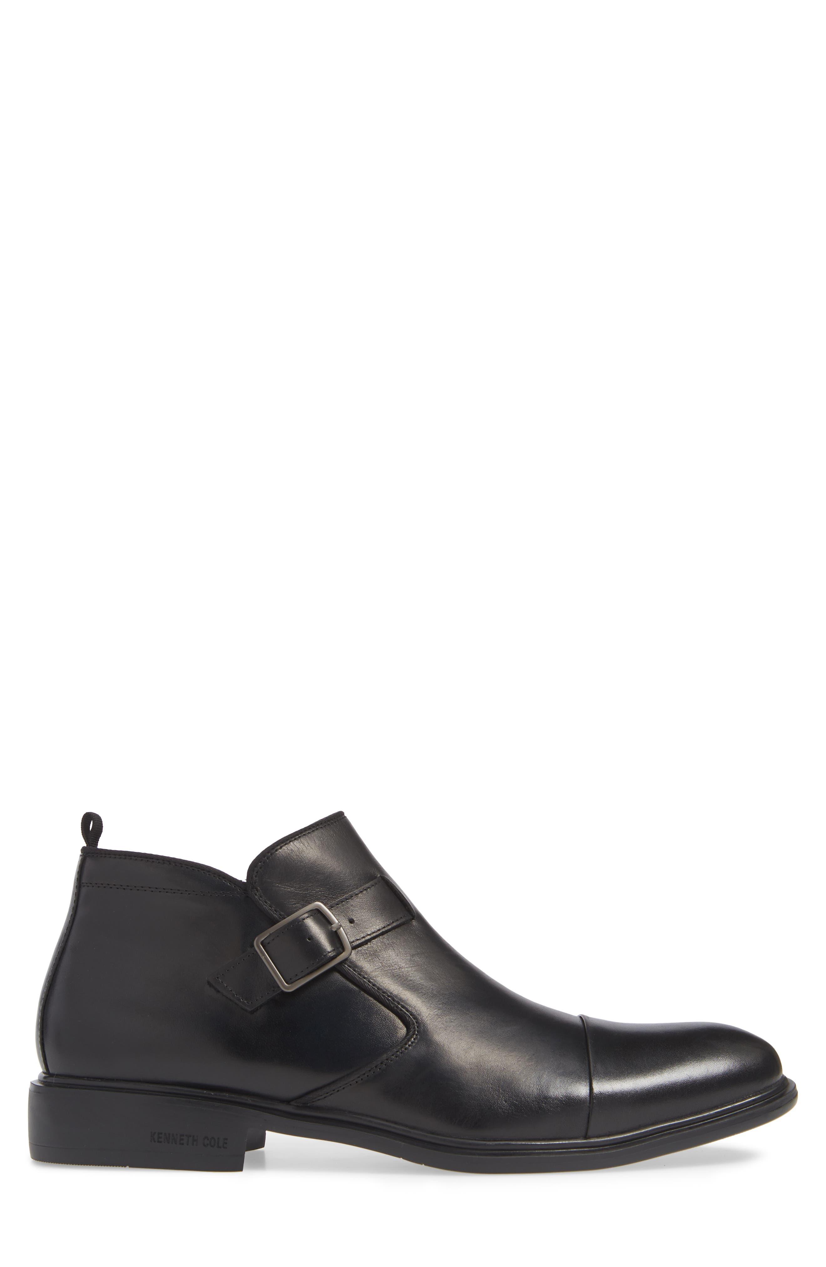 Garner Zip Boot,                             Alternate thumbnail 3, color,                             BLACK LEATHER