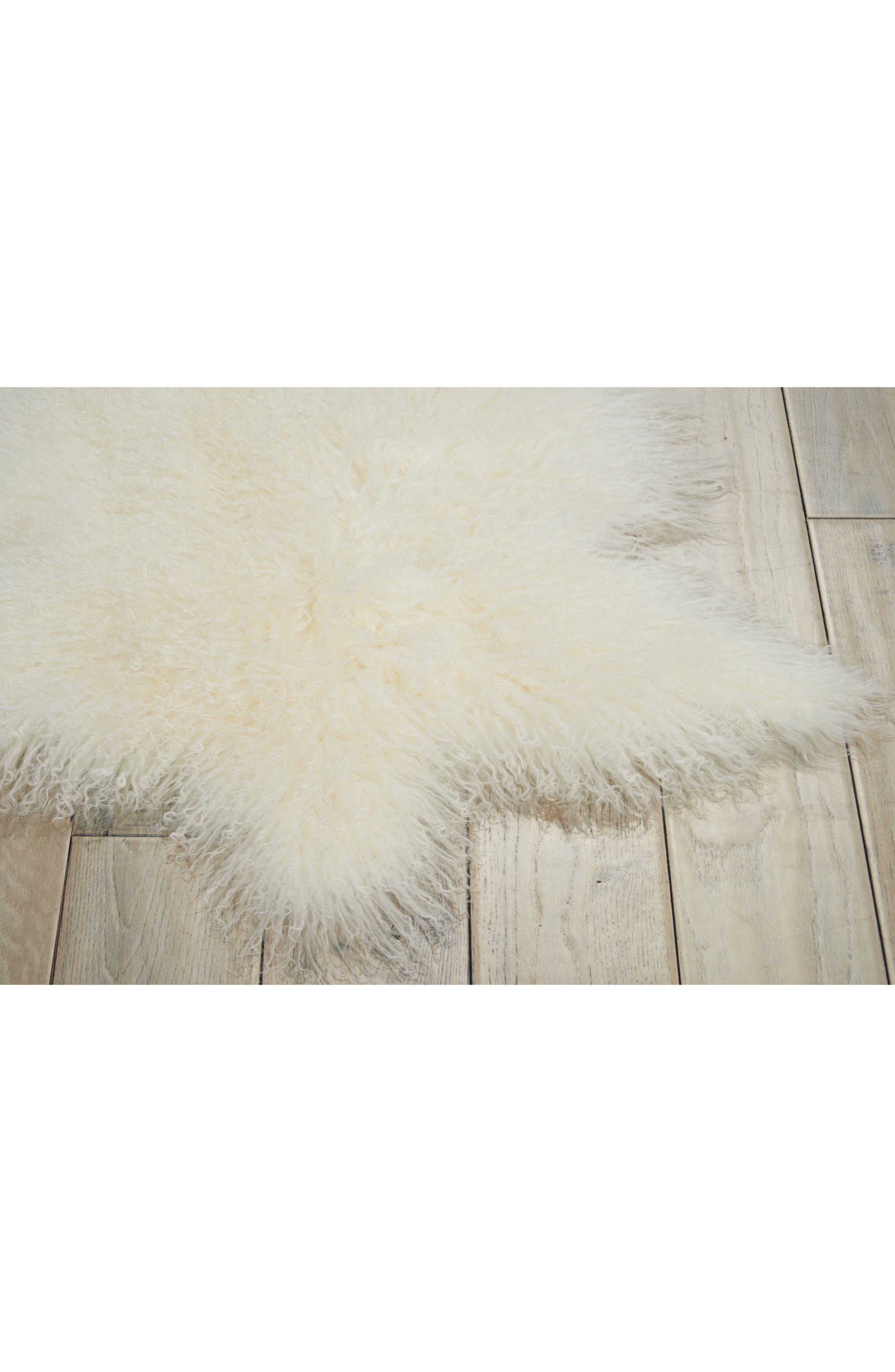 Genuine Sheepskin Freeform Rug,                             Alternate thumbnail 3, color,                             100