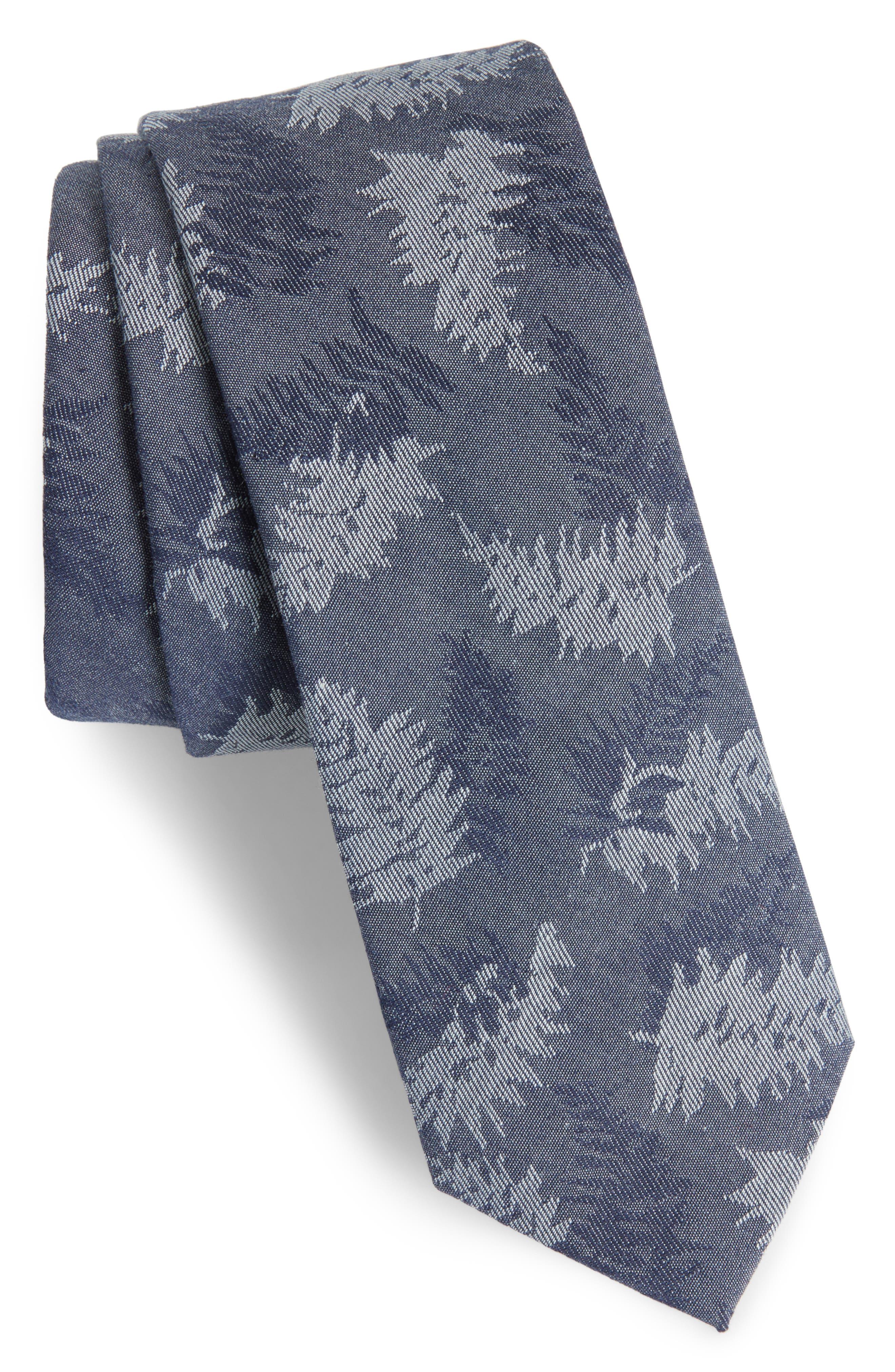 Jody Botanical Print Cotton Tie,                         Main,                         color, 410