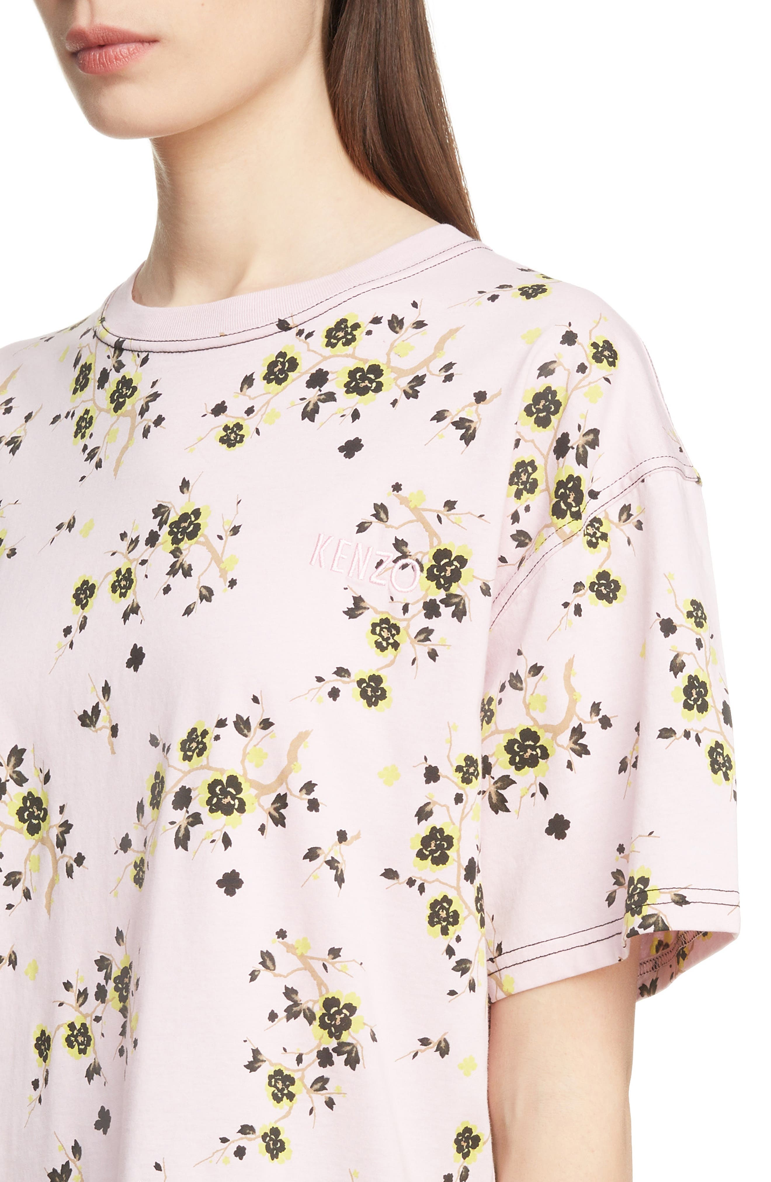 Floral Oversized Tee,                             Alternate thumbnail 4, color,                             PASTEL PINK