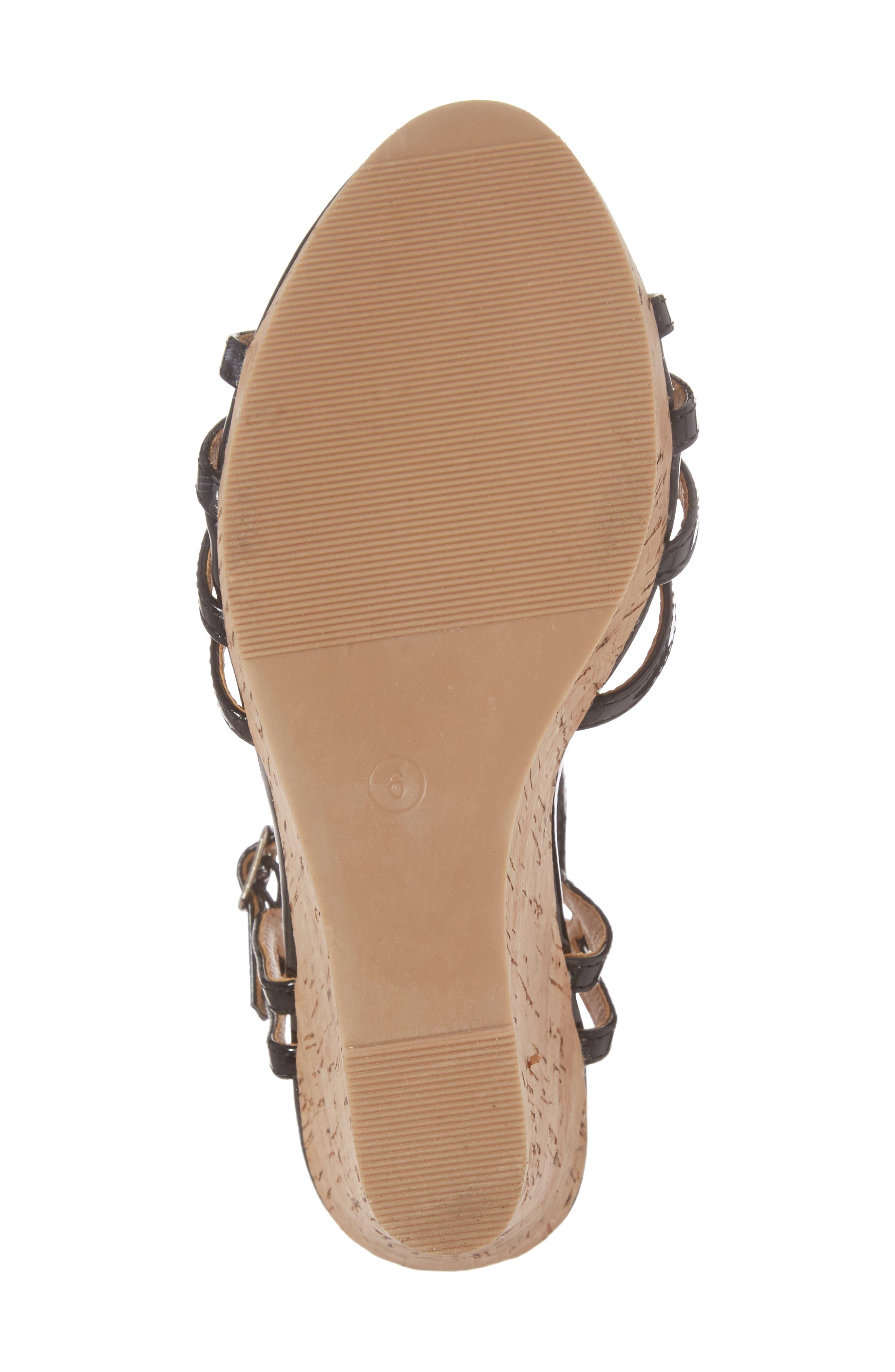 Oasis Platform Wedge Sandal,                             Alternate thumbnail 6, color,                             BLACK SYNTHETIC