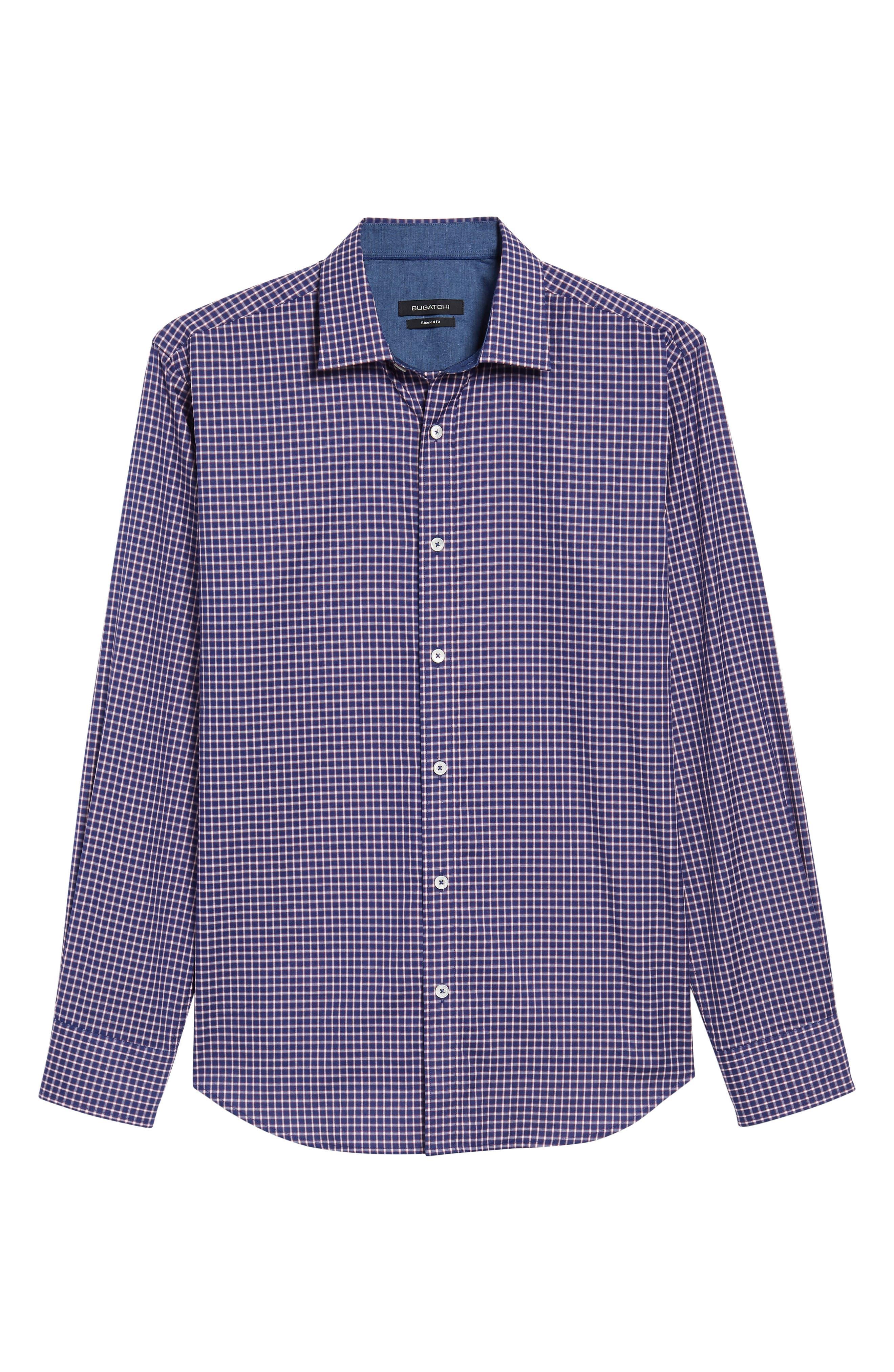Shaped Fit Check Sport Shirt,                             Alternate thumbnail 6, color,                             411