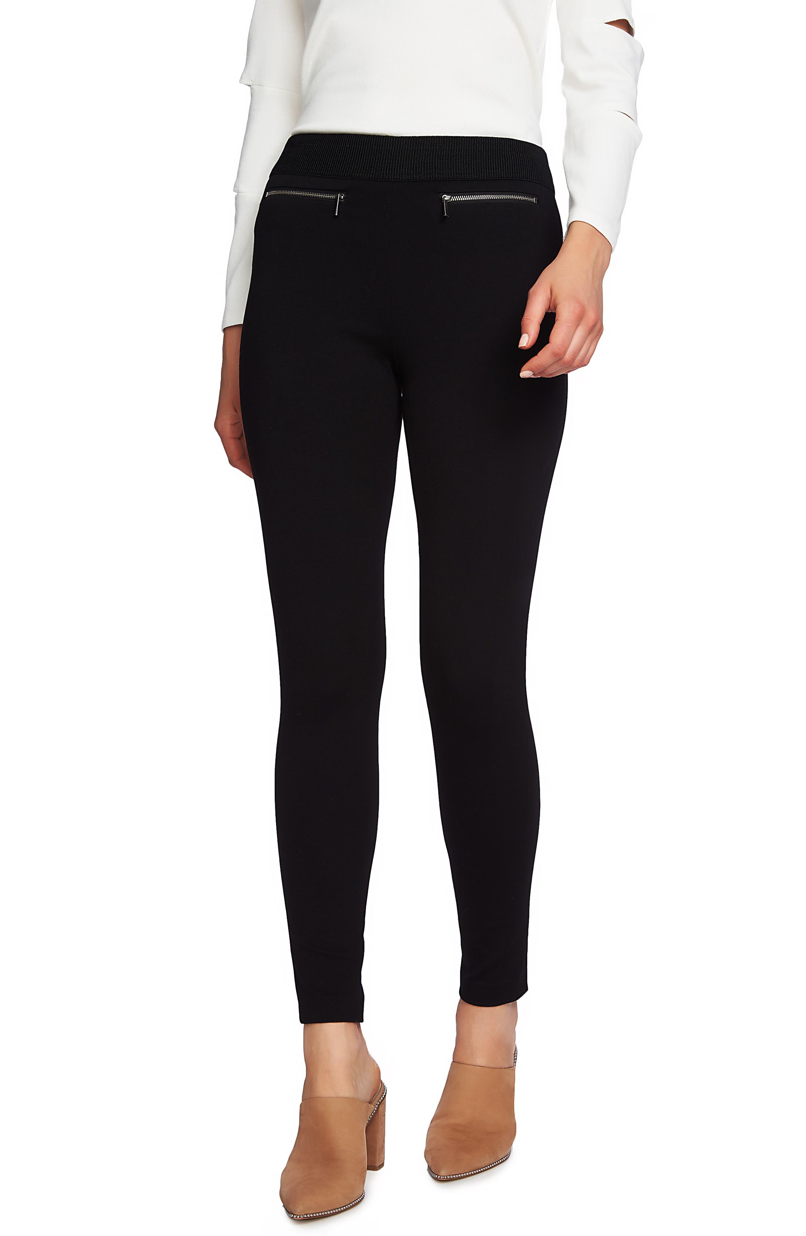 1.state Zip Pocket Ponte Leggings, Black