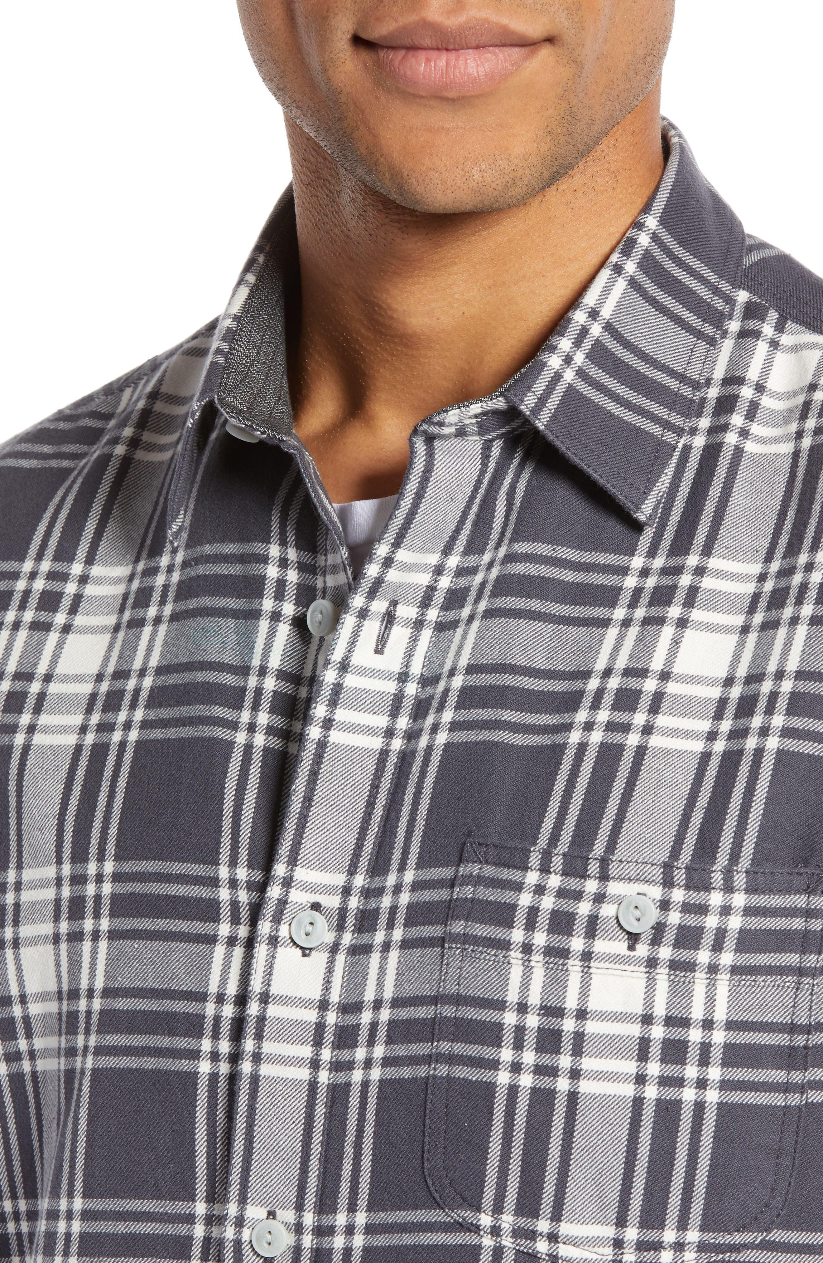 Plaid Utility Long Sleeve Trim Fit Sport Shirt,                             Alternate thumbnail 4, color,                             GREY CASTLEROCK PLAID