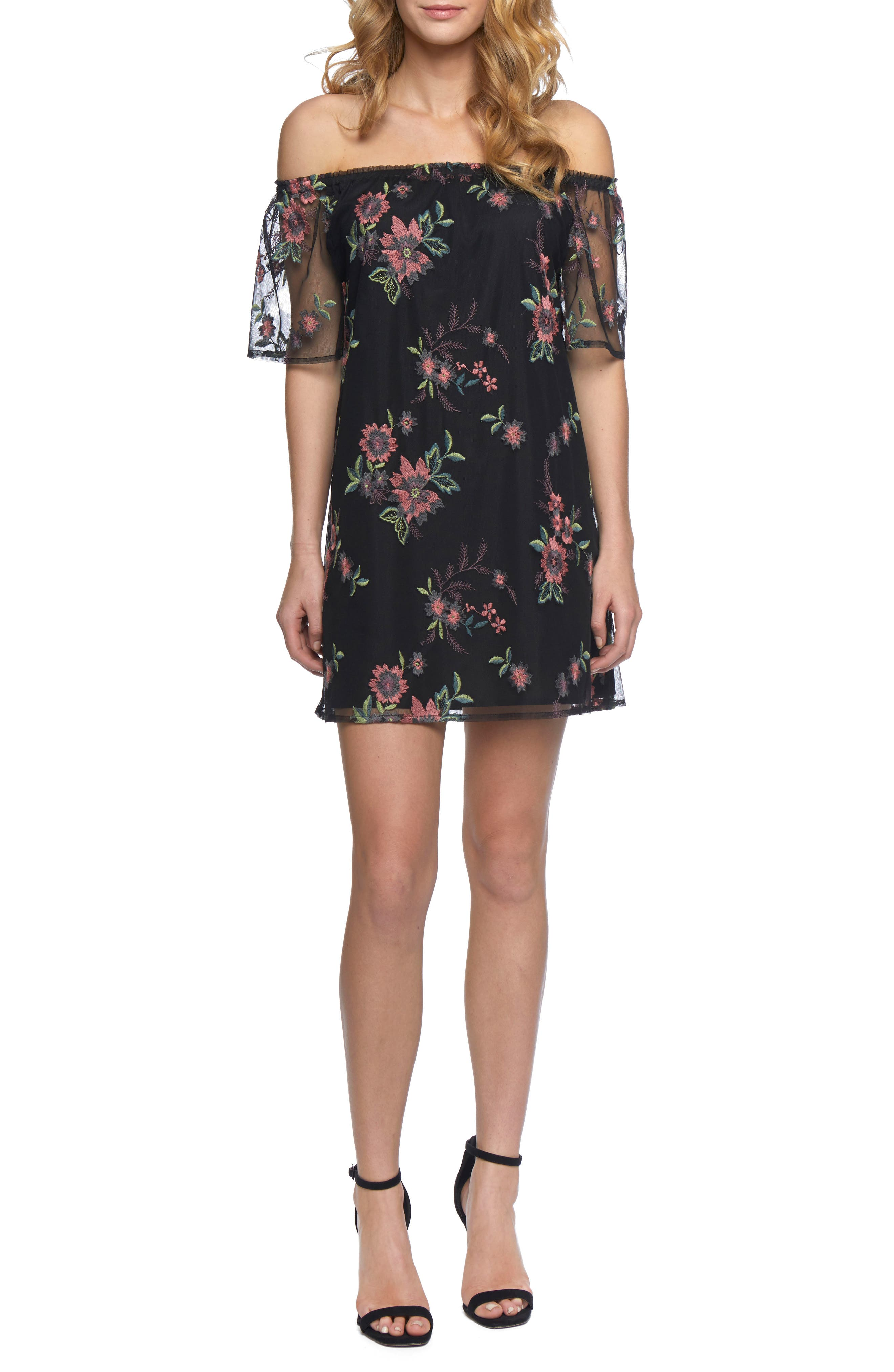 Lacole Embroidered Mesh Shift Dress,                             Alternate thumbnail 5, color,                             001