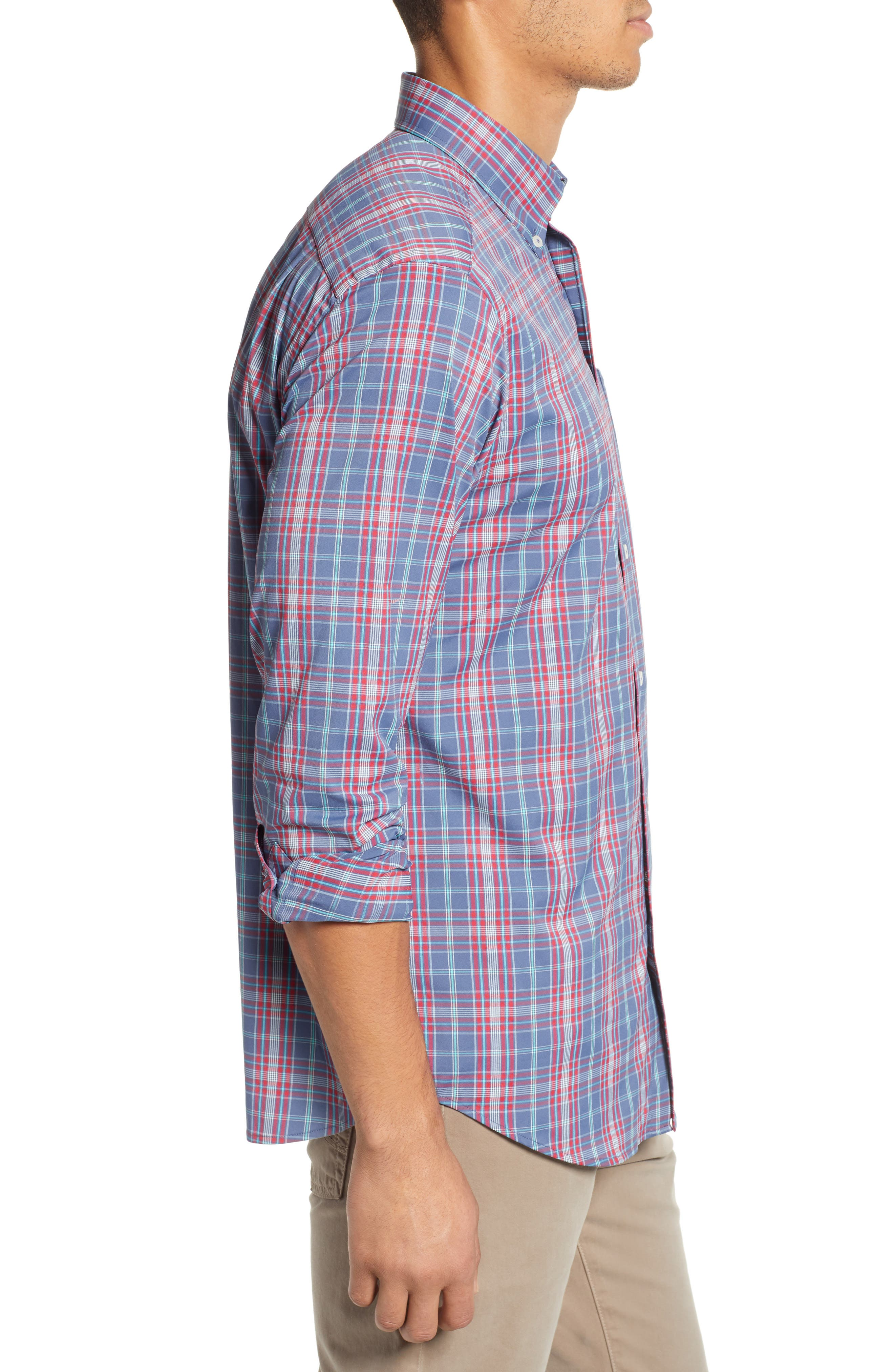 Lodge Intercoastal Regular Fit Plaid Performance Sport Shirt,                             Alternate thumbnail 4, color,                             LIGHT INDIGO