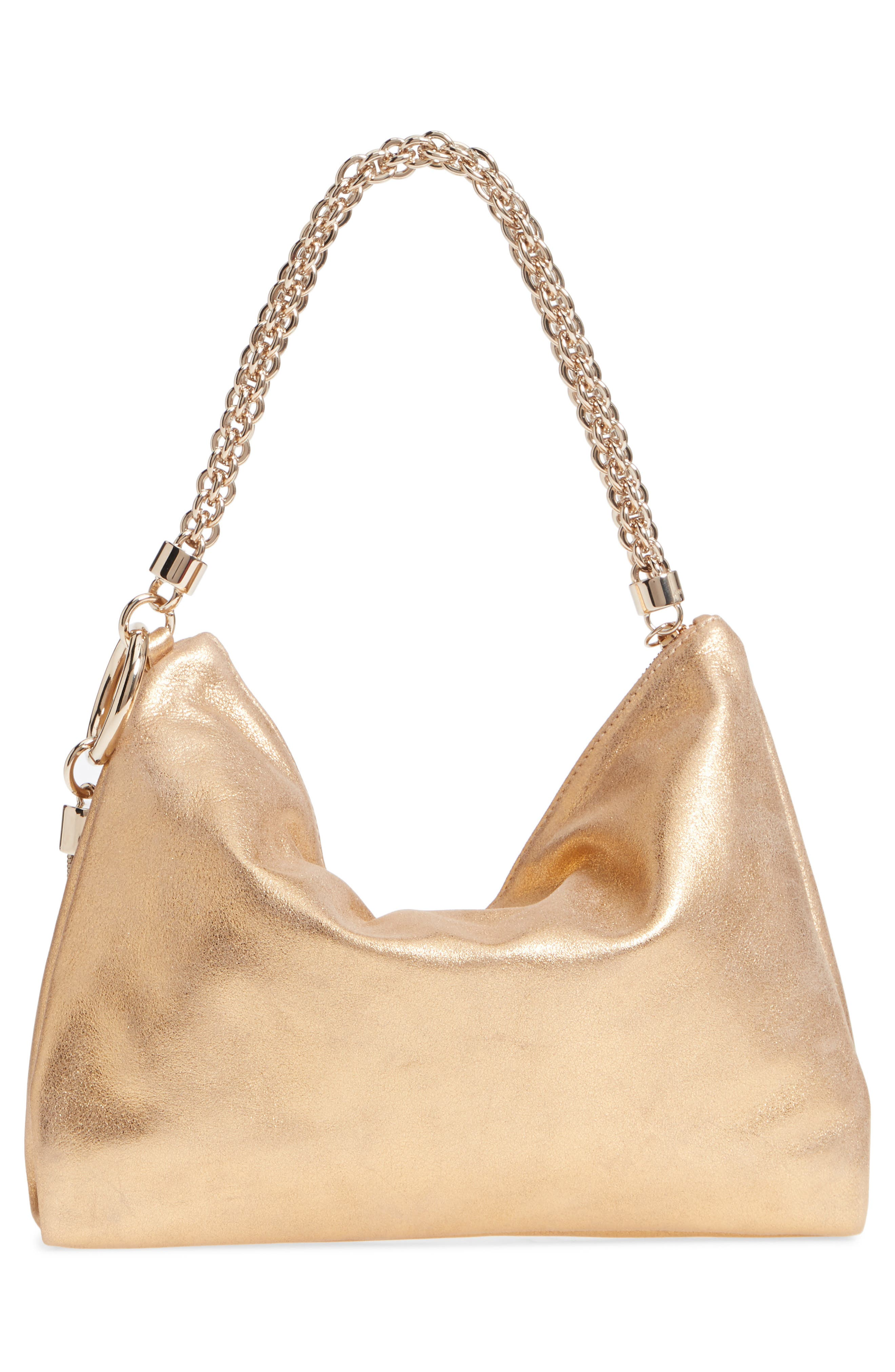 Callie Evening Metallic Leather Clutch,                             Alternate thumbnail 4, color,                             GOLD