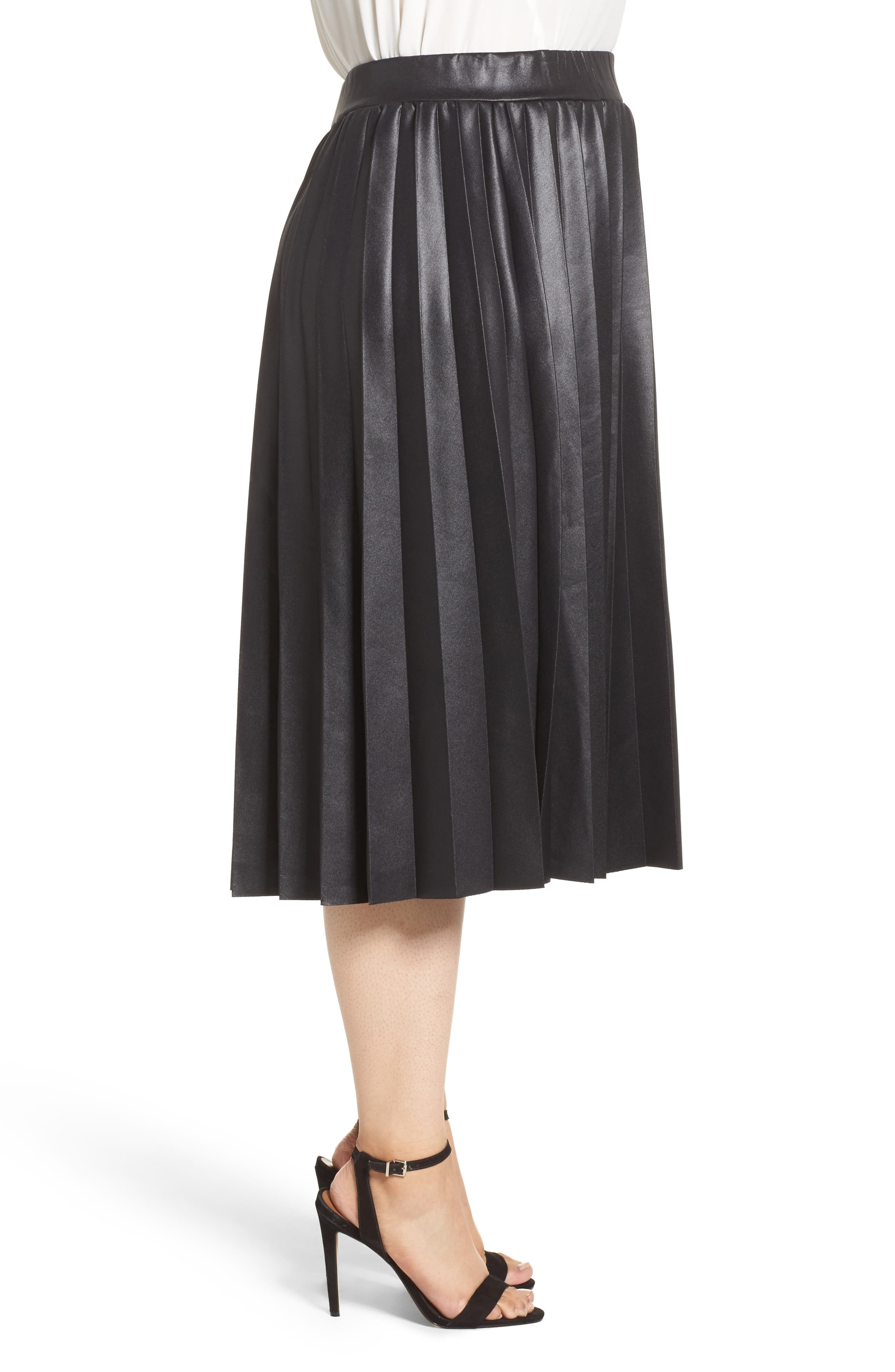 Coated Jersey Pleated Skirt,                             Alternate thumbnail 3, color,                             001
