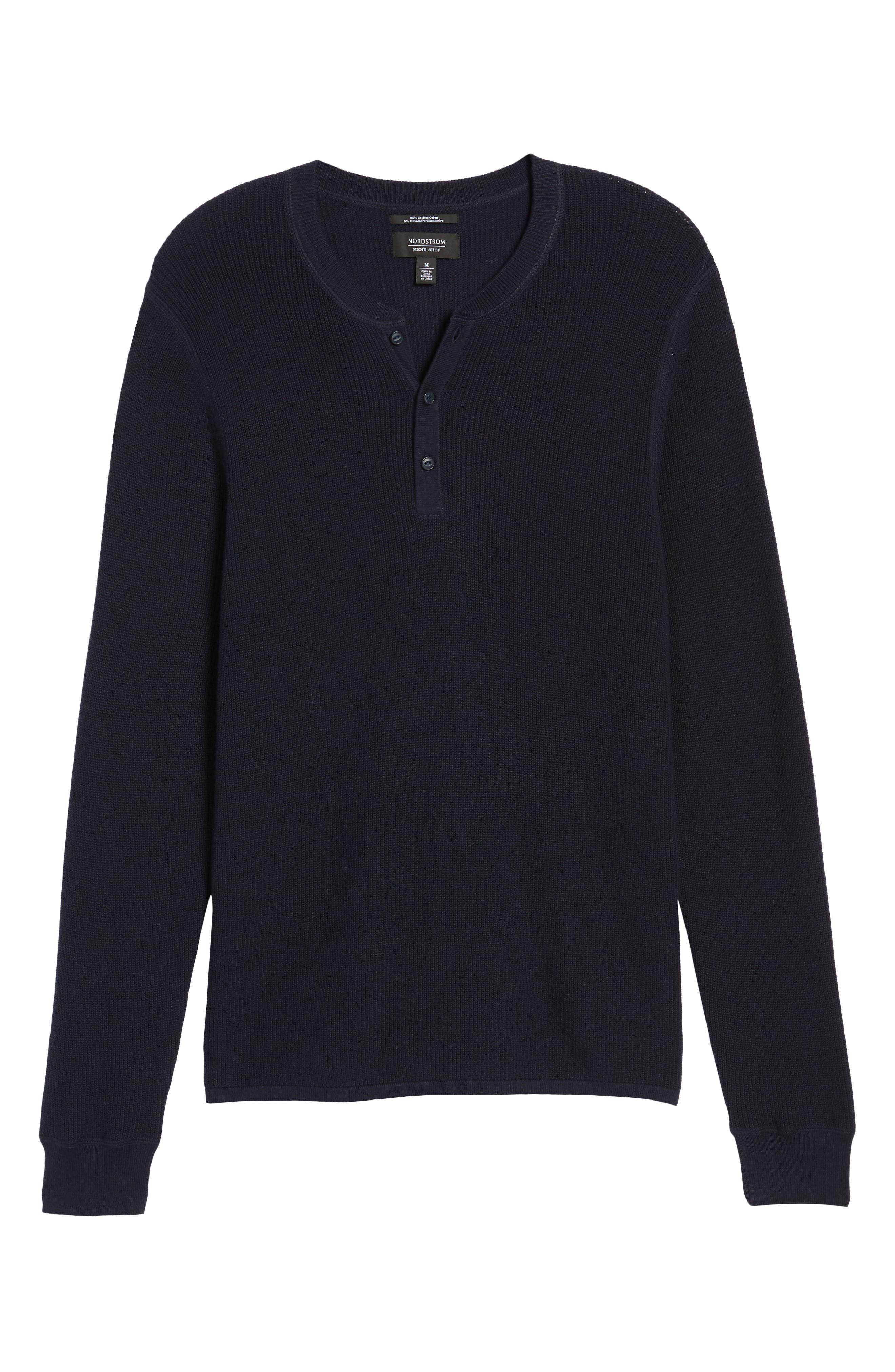 Cotton & Cashmere Henley Sweater,                             Alternate thumbnail 17, color,