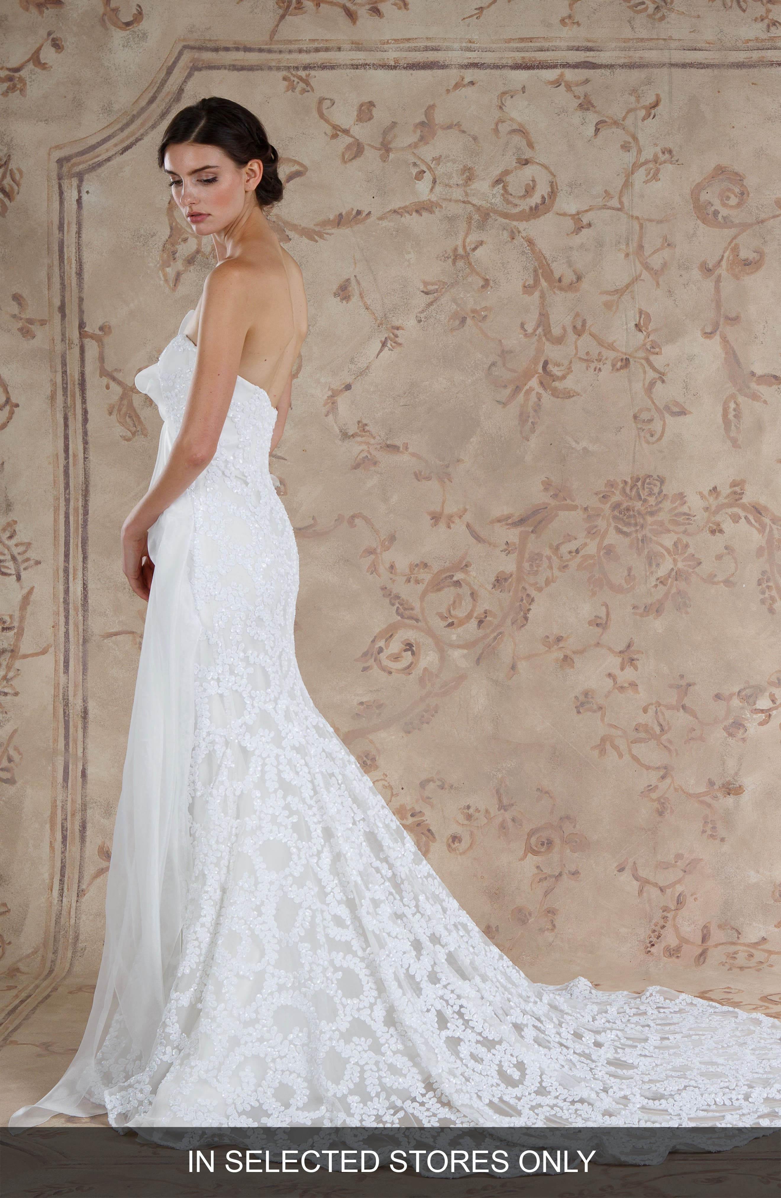 Zarin Strapless Sequin Lace Trumpet Gown,                         Main,                         color, IVORY