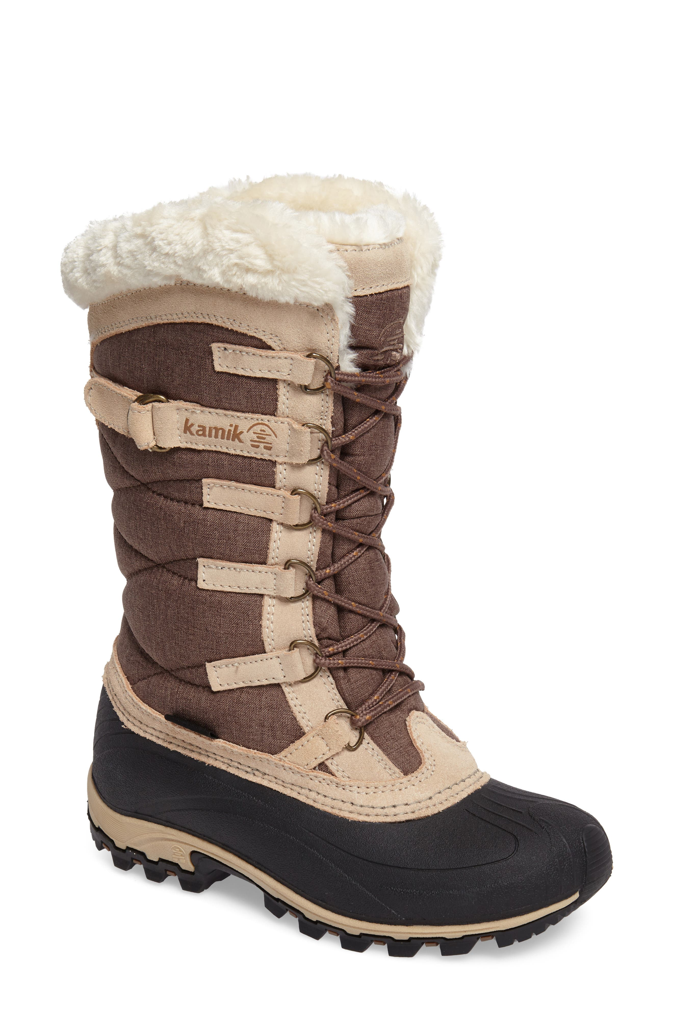 Snowvalley Waterproof Boot with Faux Fur Cuff,                             Main thumbnail 1, color,                             BROWN FABRIC