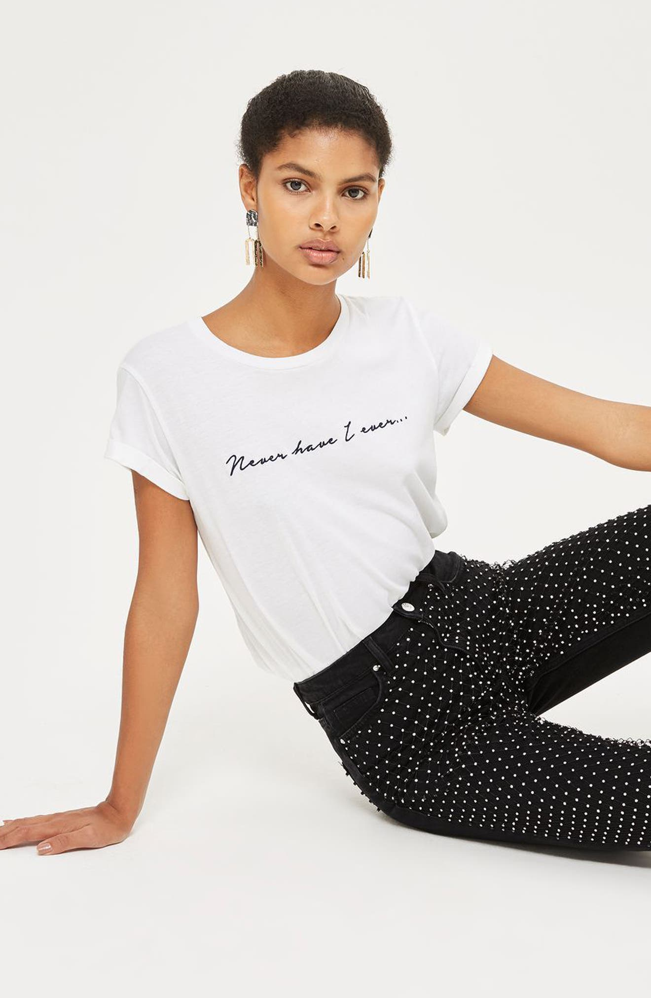 Limited Edition Diamante Fishnet Mom Jeans,                             Alternate thumbnail 4, color,                             001