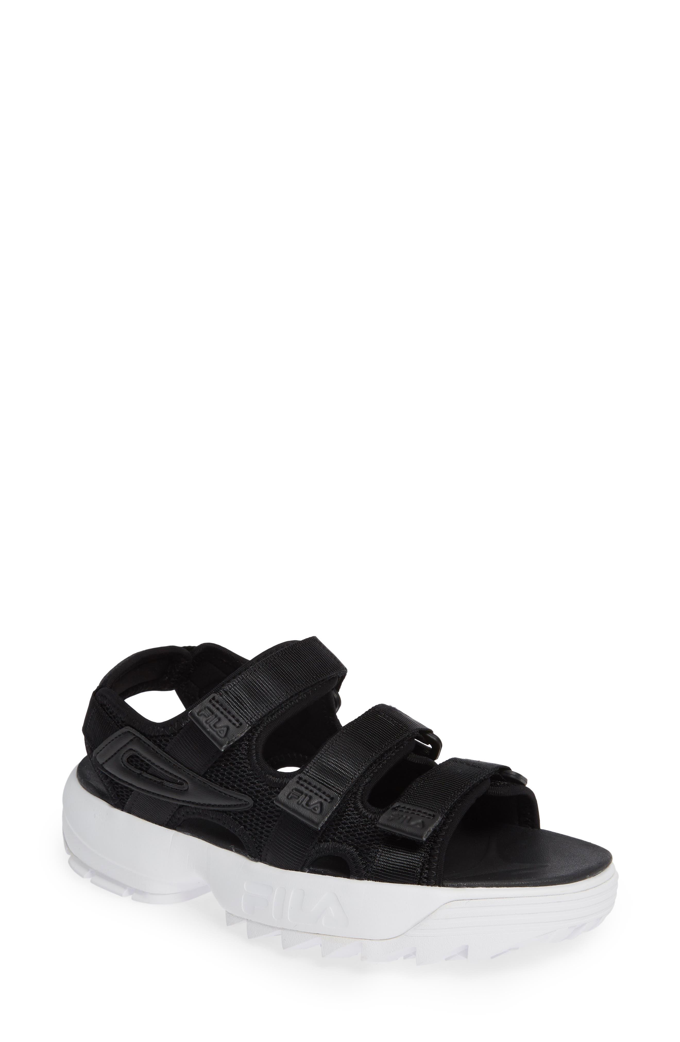 Disruptor Sandal,                             Main thumbnail 1, color,                             BLACK/ BLACK/ WHITE
