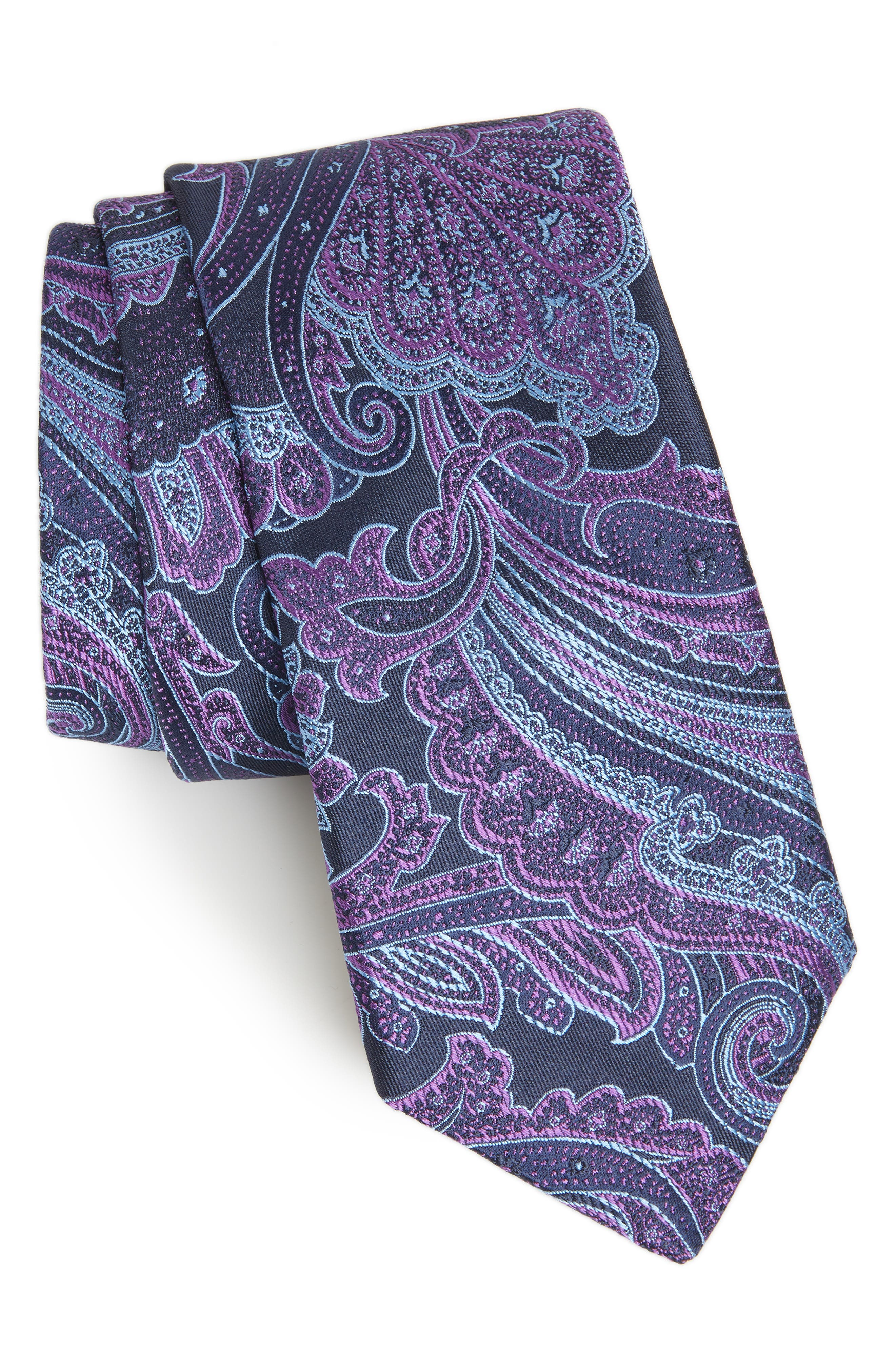 TED BAKER LONDON,                             Paisley Silk Tie,                             Main thumbnail 1, color,                             PURPLE