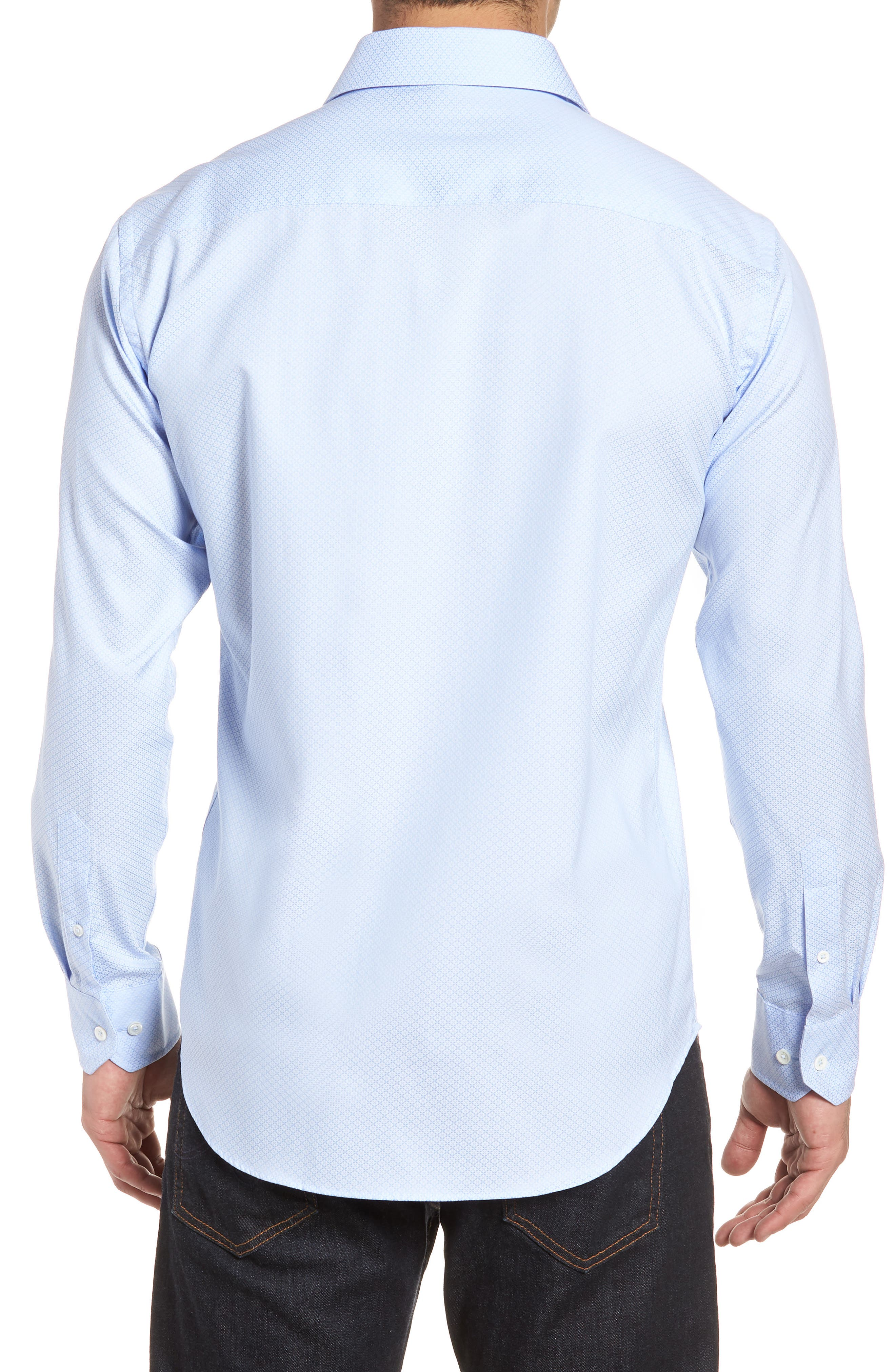 Shaped Fit Textured Dress Shirt,                             Alternate thumbnail 3, color,                             SKY