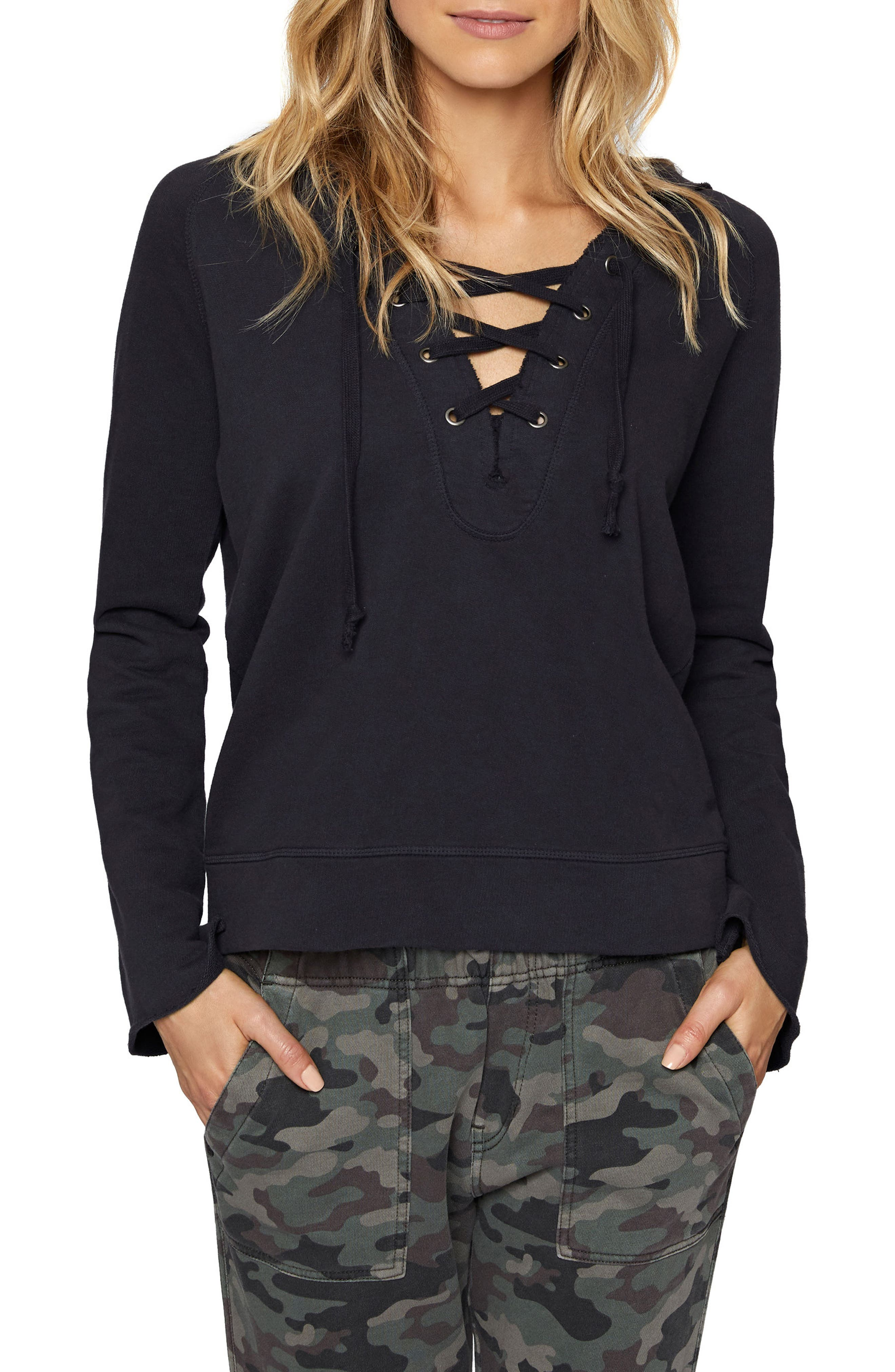 Bailey Lace-Up Hoodie,                             Main thumbnail 1, color,
