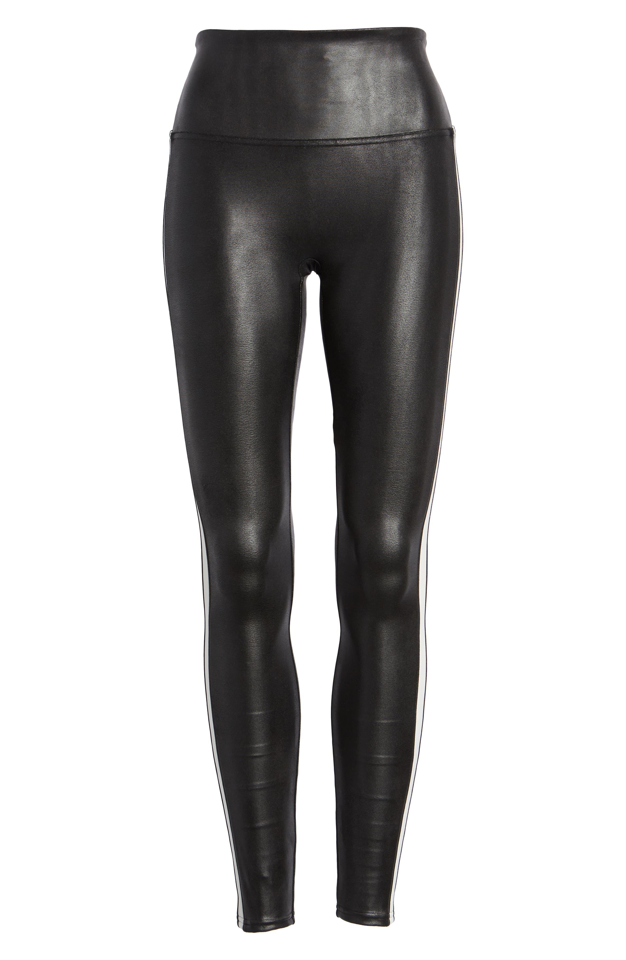 Side Stripe Faux Leather Leggings,                             Alternate thumbnail 6, color,                             VERY BLACK/ WHT
