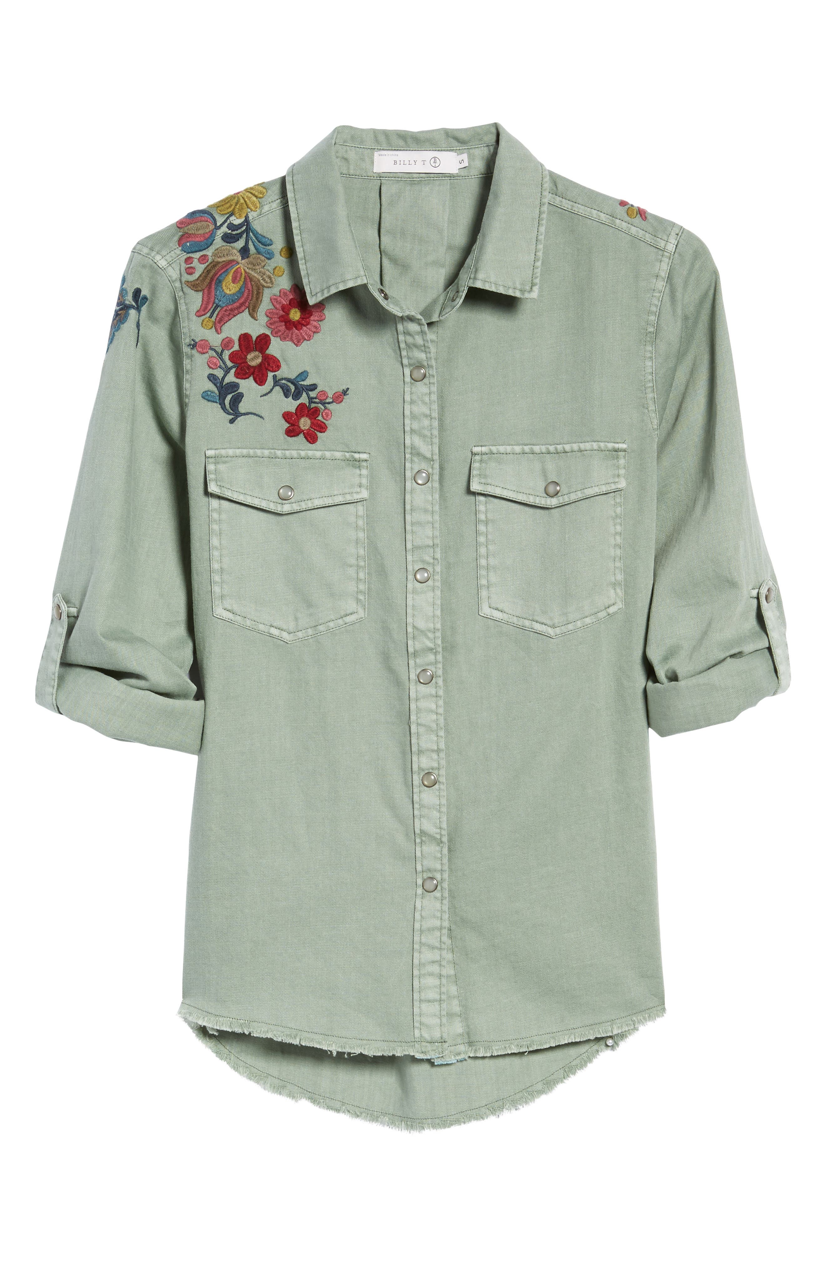 Roll Sleeve Embroidered Shirt,                             Alternate thumbnail 6, color,                             301