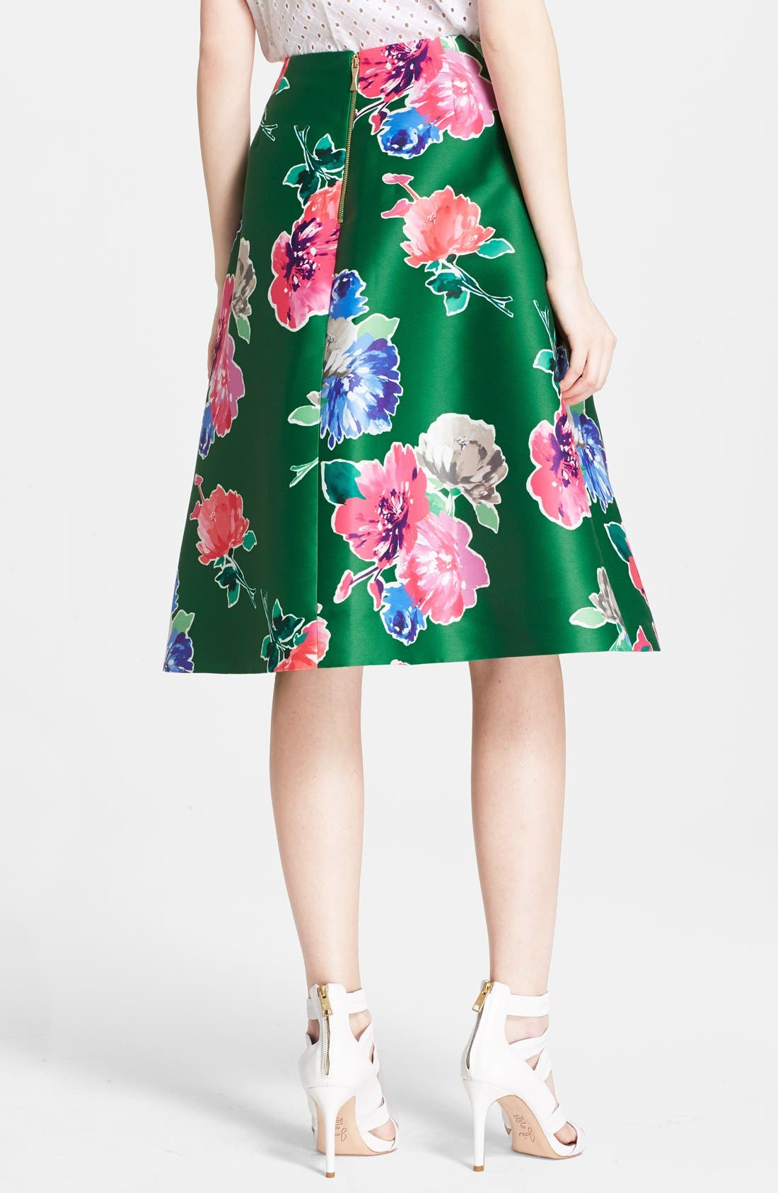 'lorella' floral print a-line skirt,                             Alternate thumbnail 4, color,                             313