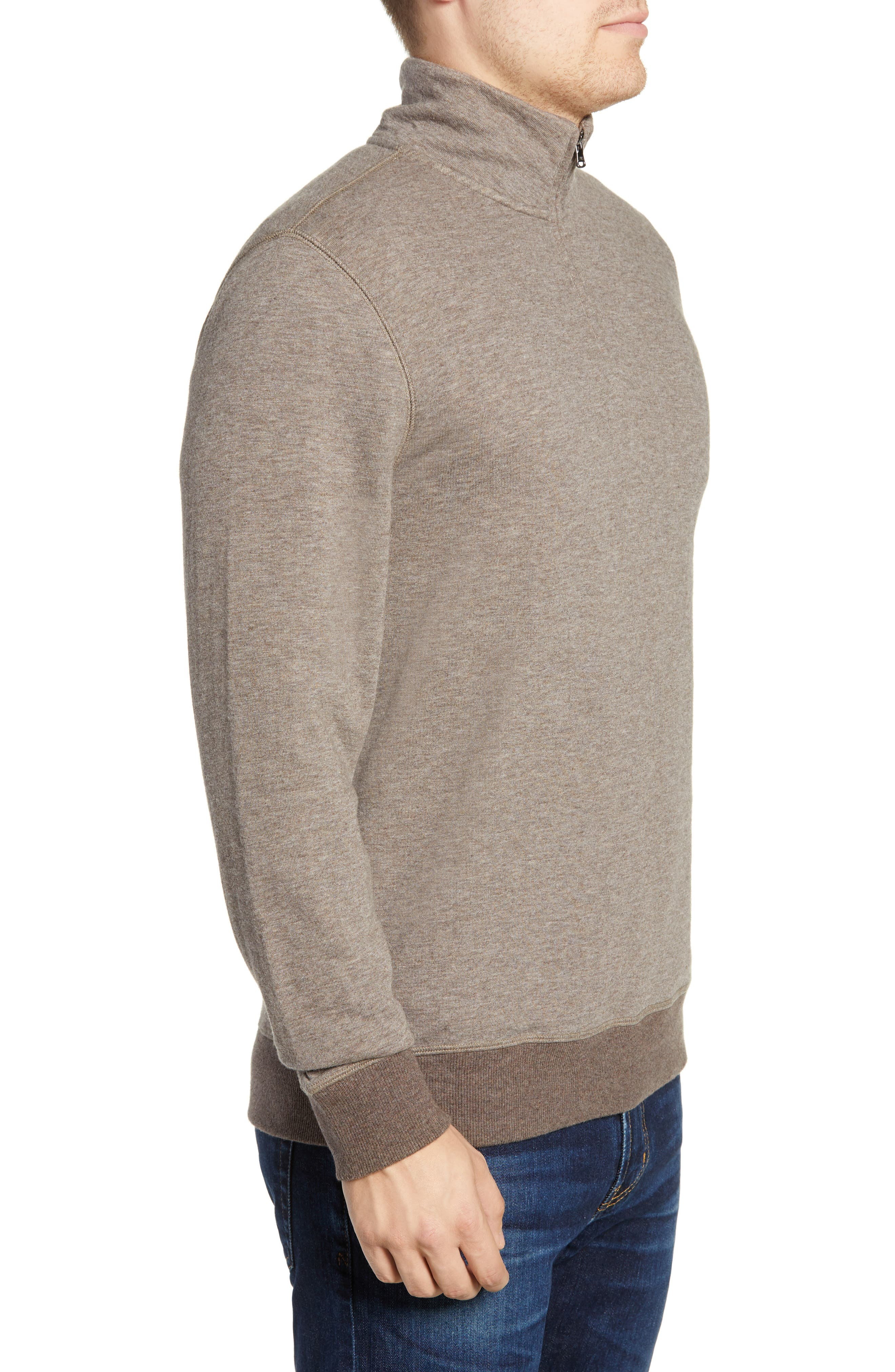 Dual Knit Regular Fit Quarter Zip Pullover,                             Alternate thumbnail 3, color,                             CHESTNUT