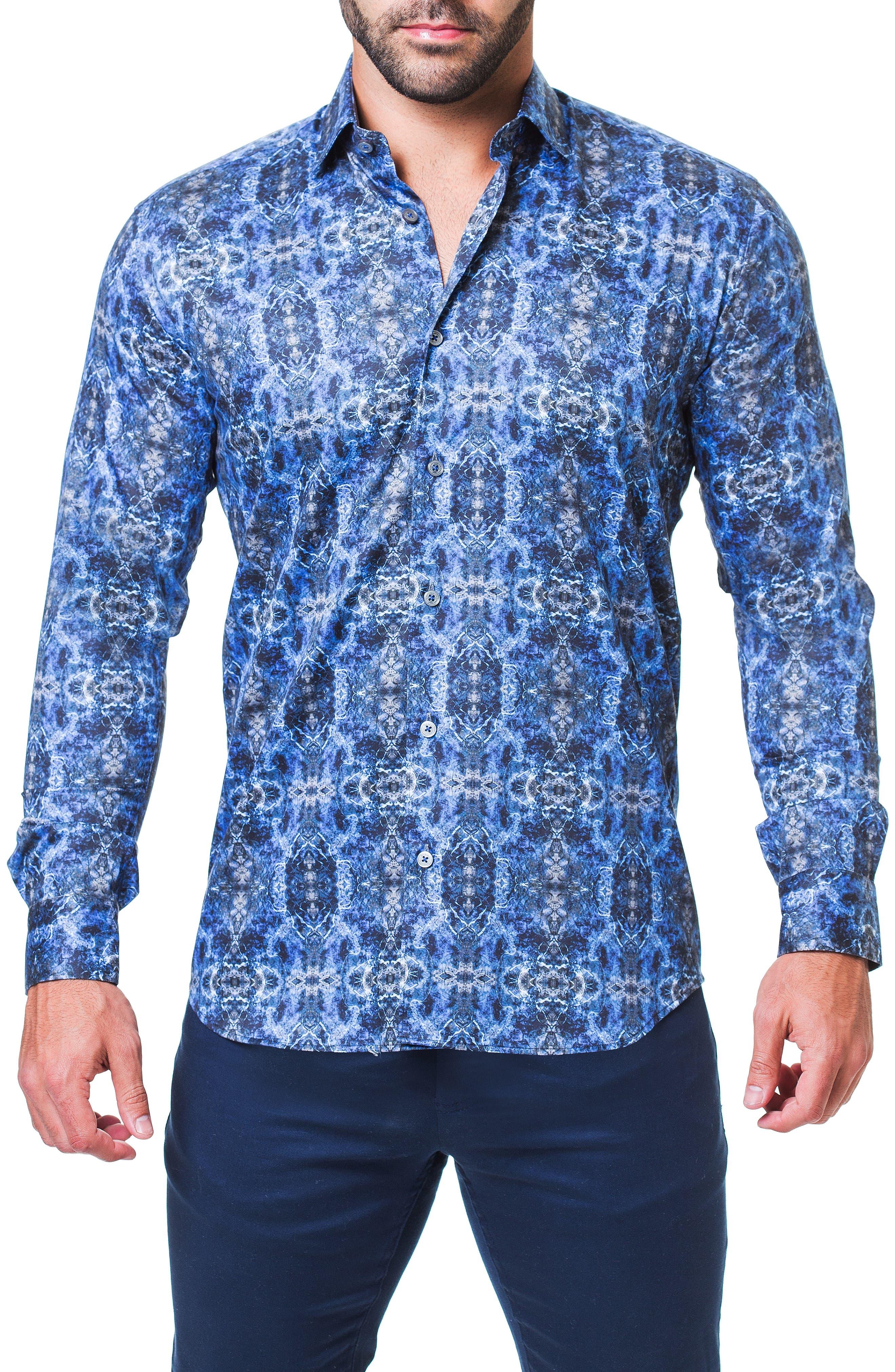 Fibonacci Desigual Regular Fit Print Sport Shirt,                         Main,                         color, BLUE