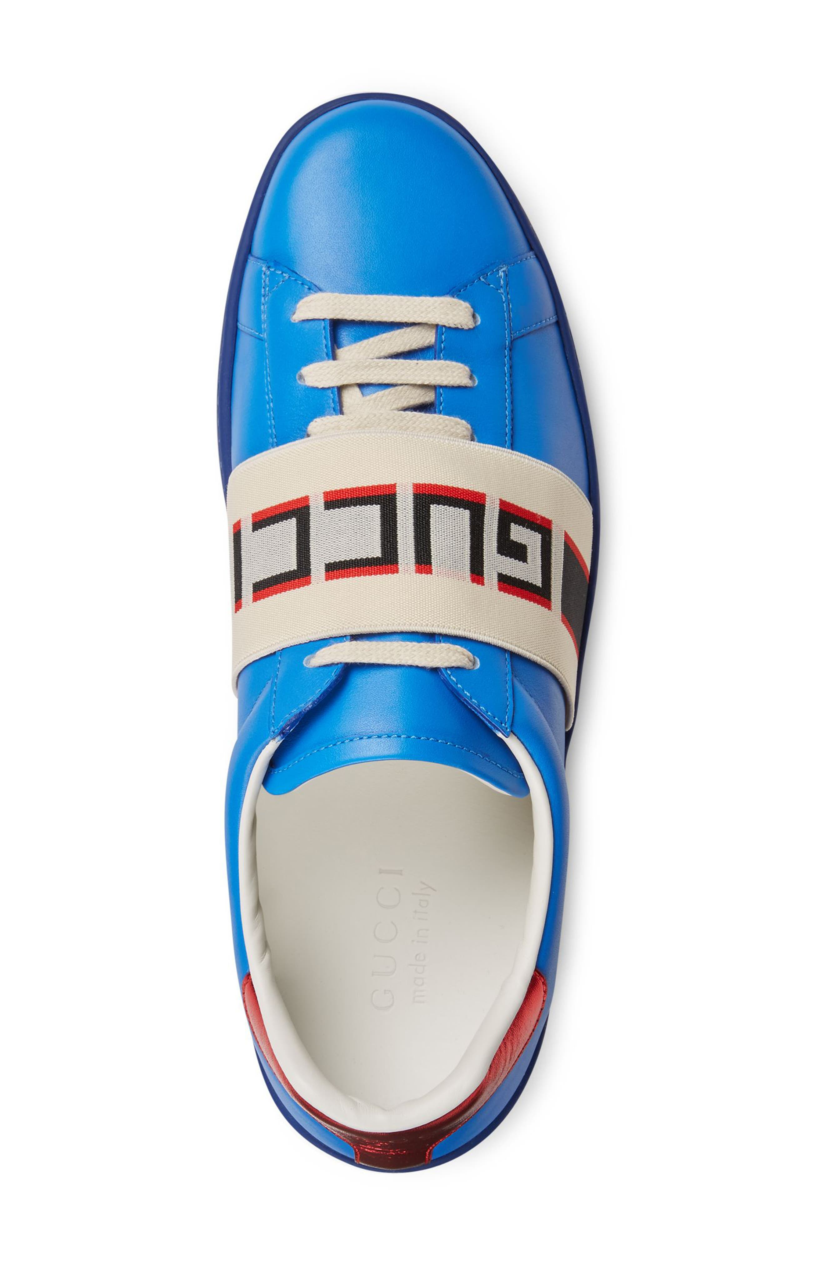 New Ace Stripe Leather Sneaker,                             Alternate thumbnail 3, color,                             BLUE