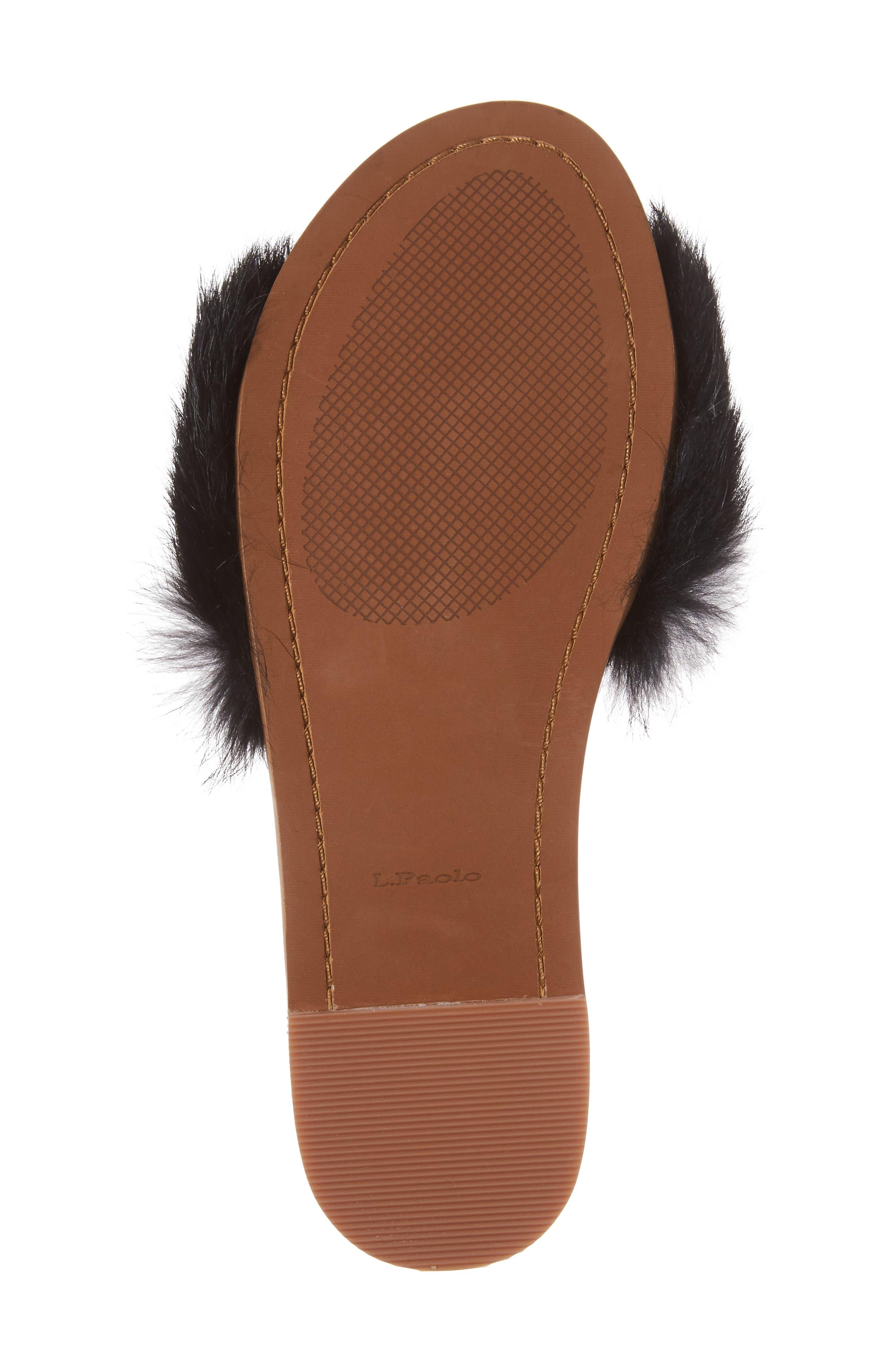 Lisa Genuine Rabbit Fur Slide Sandal,                             Alternate thumbnail 6, color,                             007