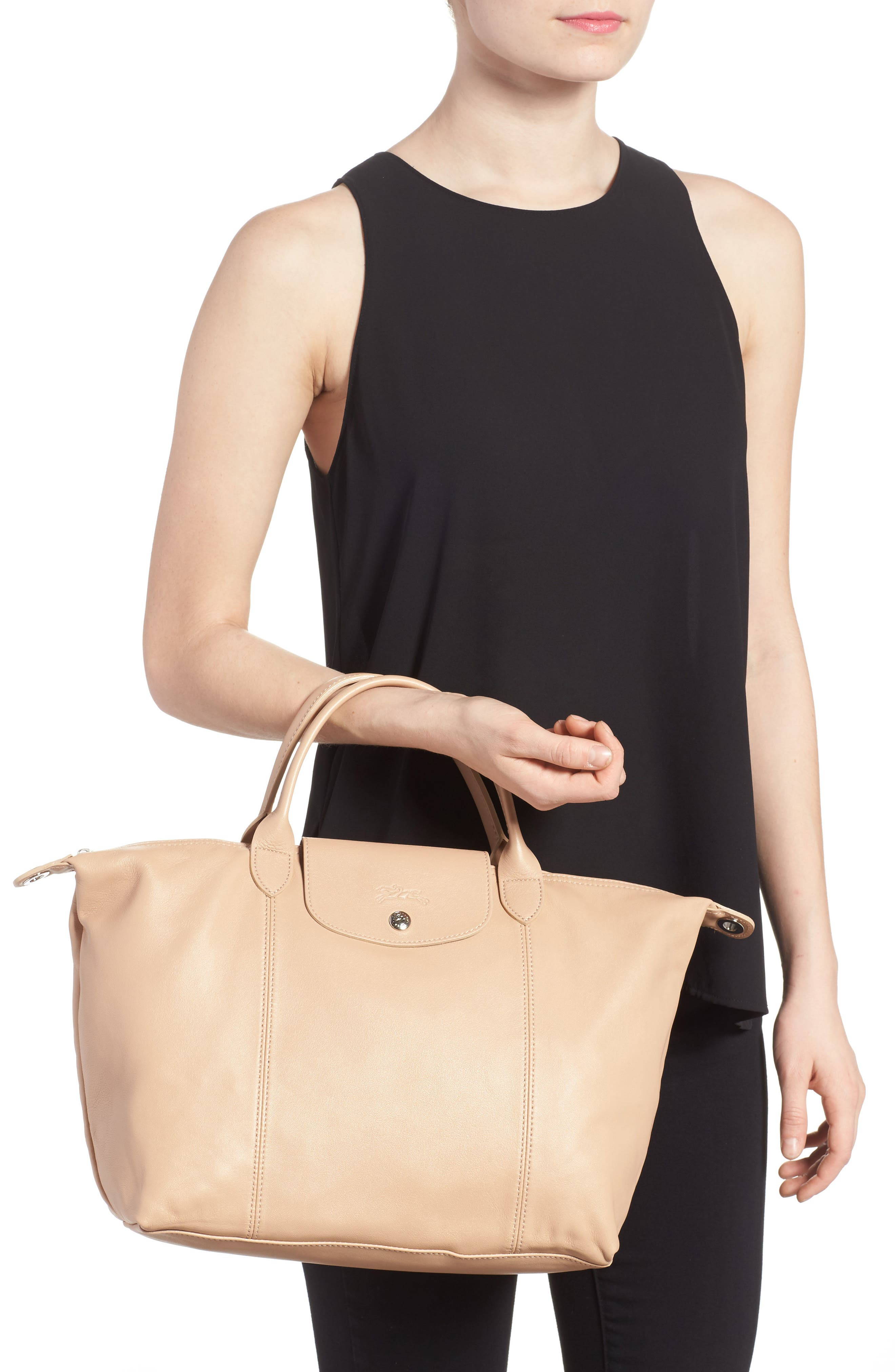 Medium 'Le Pliage Cuir' Leather Top Handle Tote,                             Alternate thumbnail 37, color,