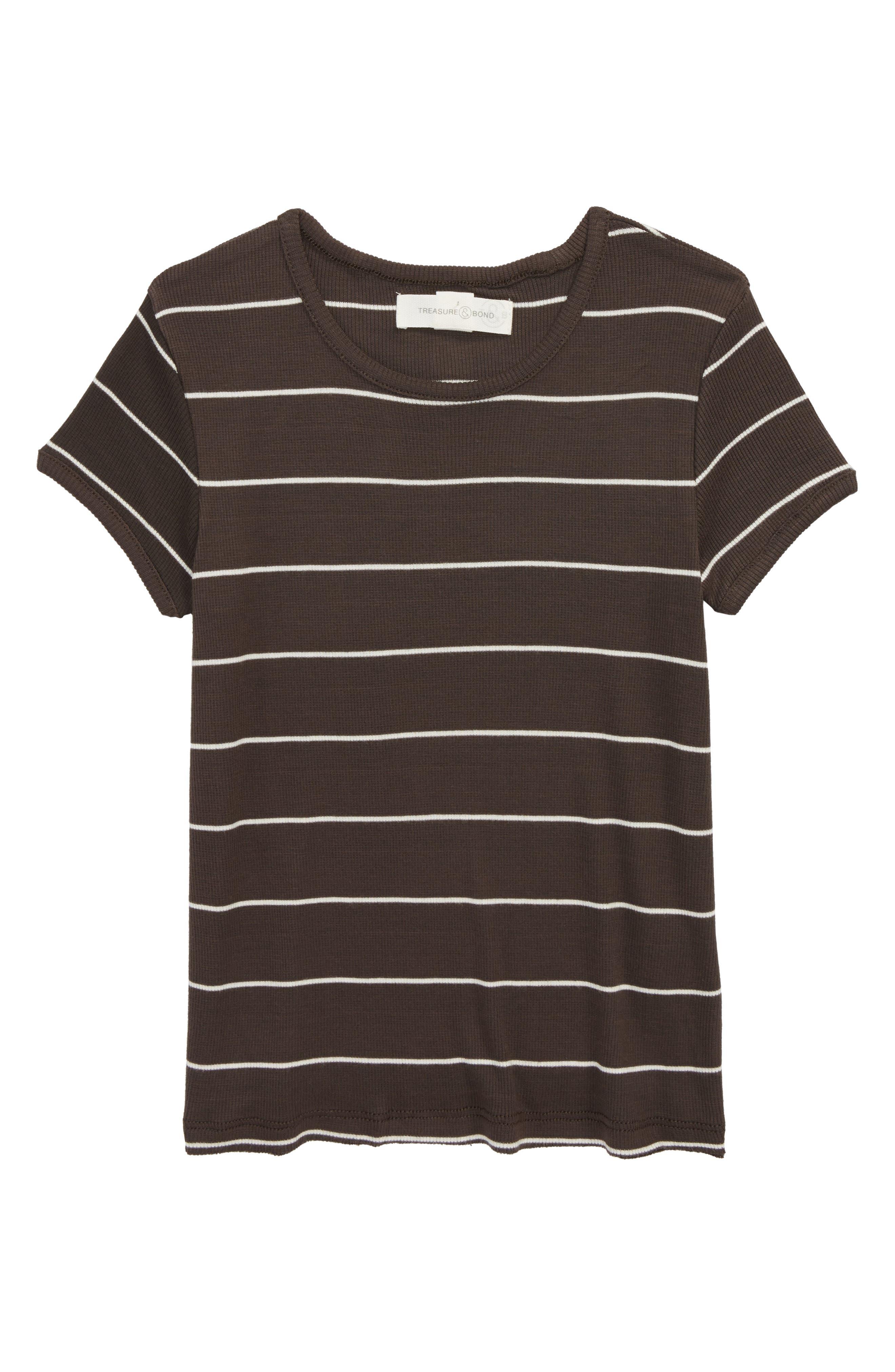 Stripe Knit Tee,                             Main thumbnail 1, color,                             BLACK RAVEN SKINNY STRIPE