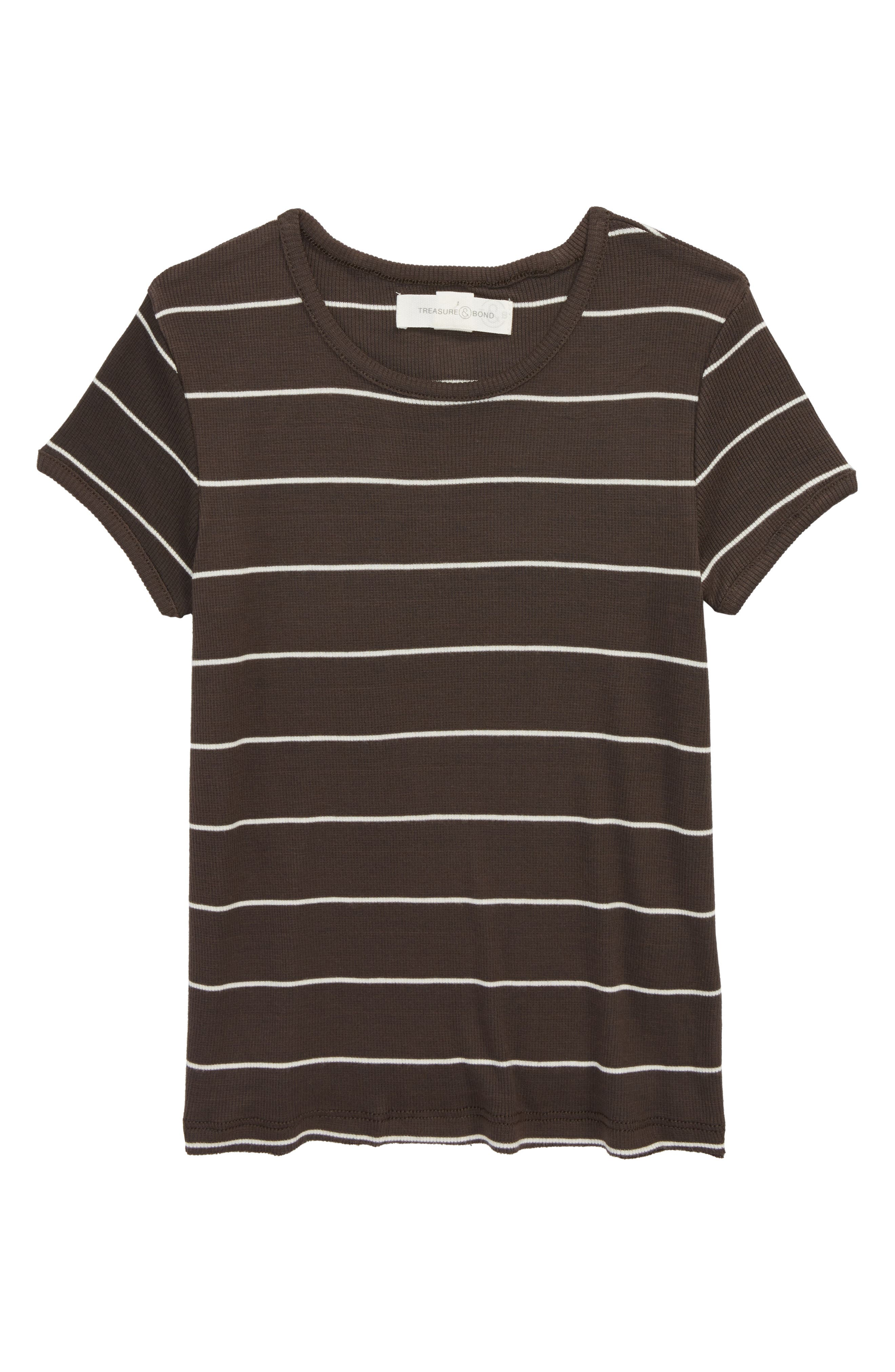 Stripe Knit Tee,                         Main,                         color, BLACK RAVEN SKINNY STRIPE