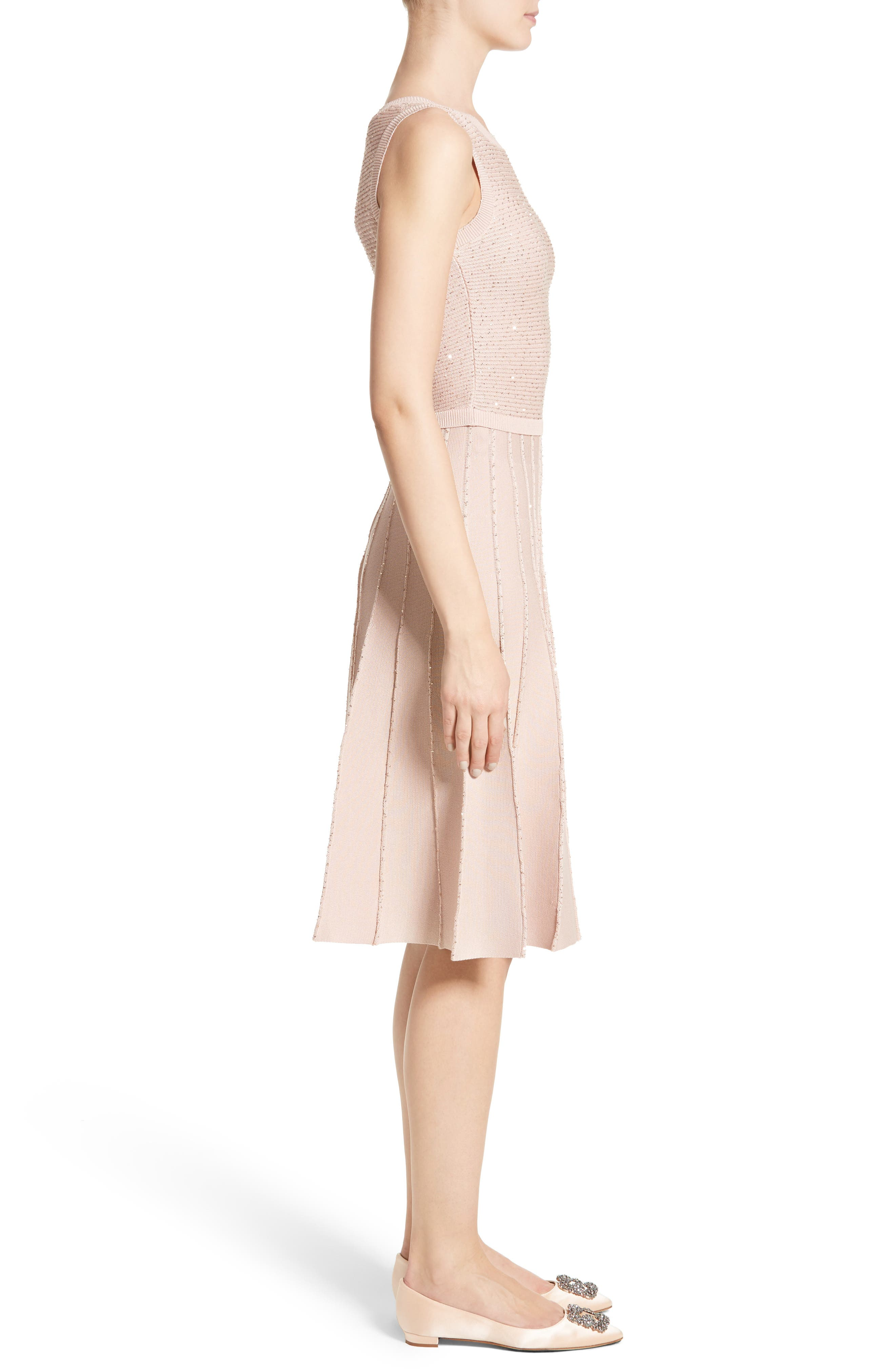 Sparkle Knit Pleated Dress,                             Alternate thumbnail 3, color,                             650