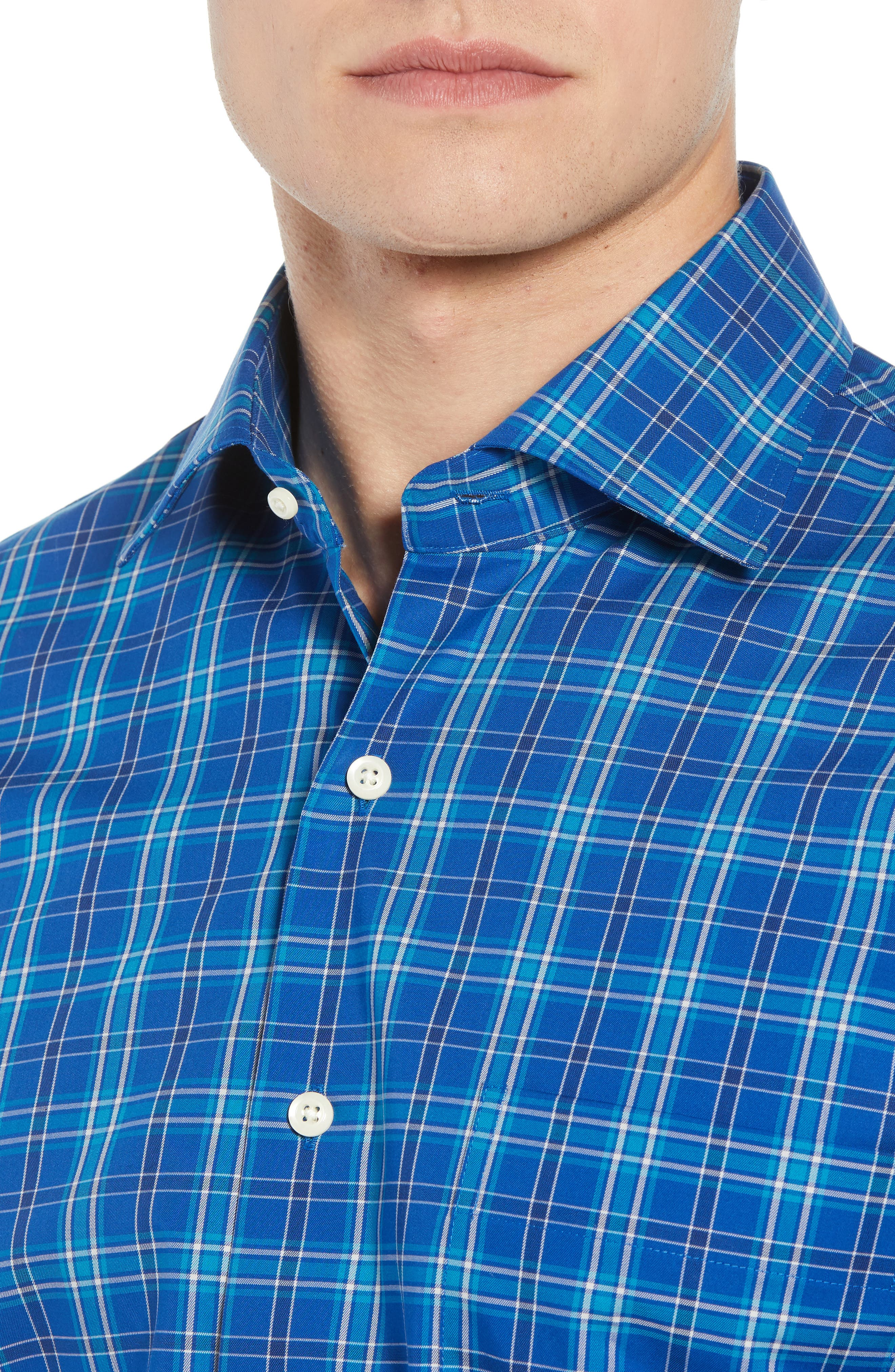 Crown Ease Salamanca Regular Fit Plaid Sport Shirt,                             Alternate thumbnail 2, color,                             BLUE