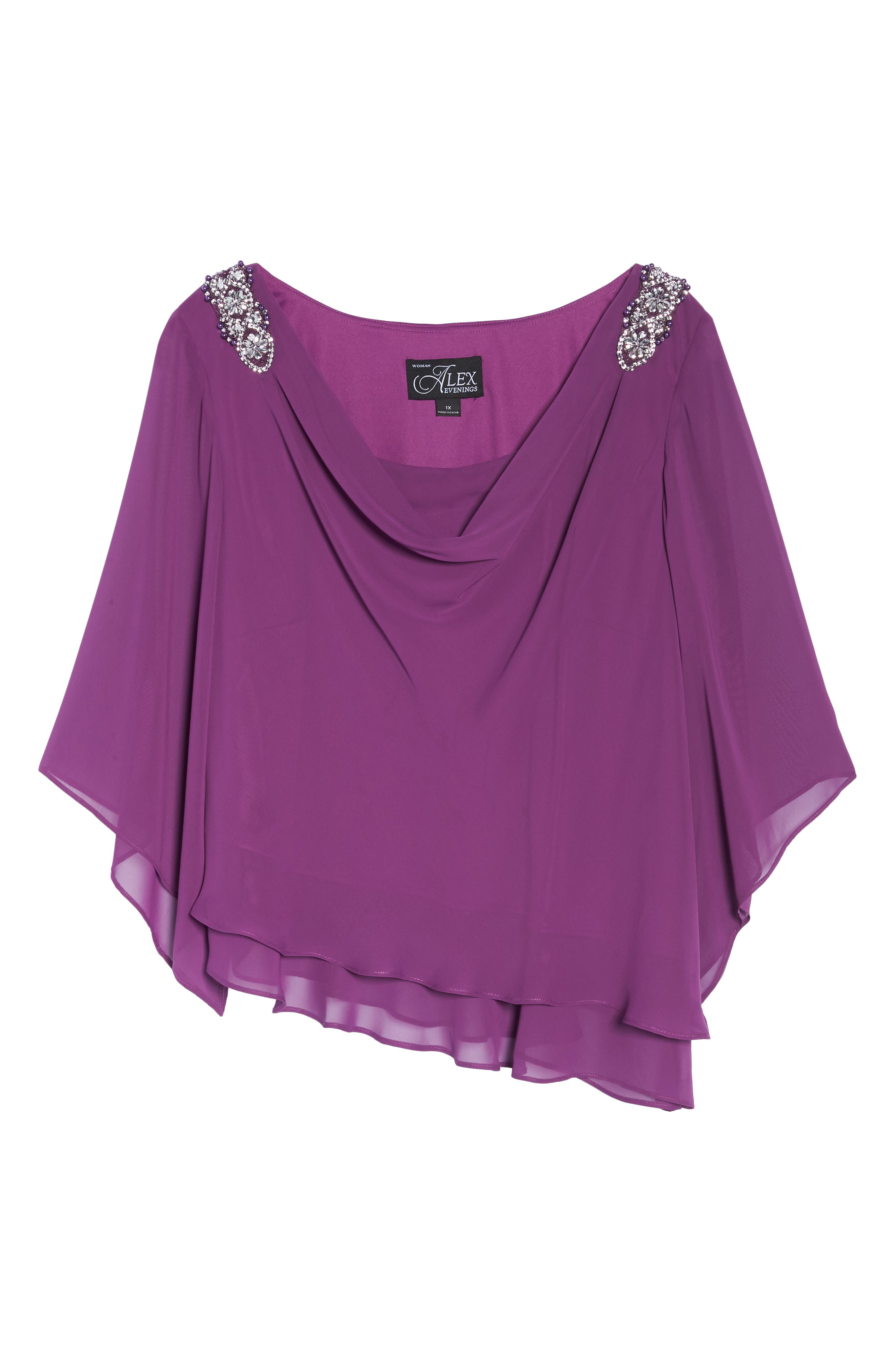 Embellished Tiered Chiffon Top,                             Alternate thumbnail 6, color,                             VINTAGE PLUM