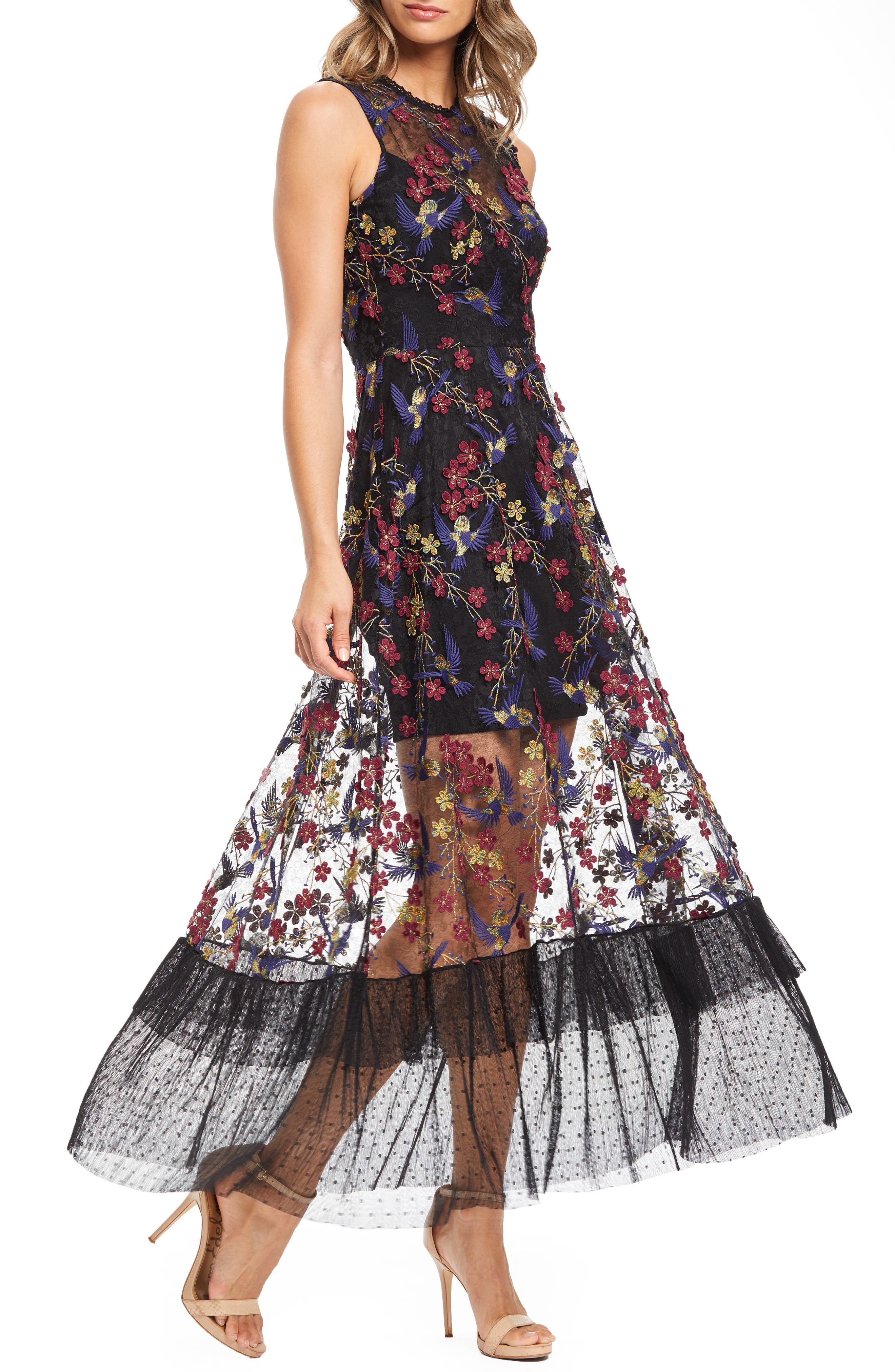 Dress The Population Gina Lace Embroidered Evening Dress, Black
