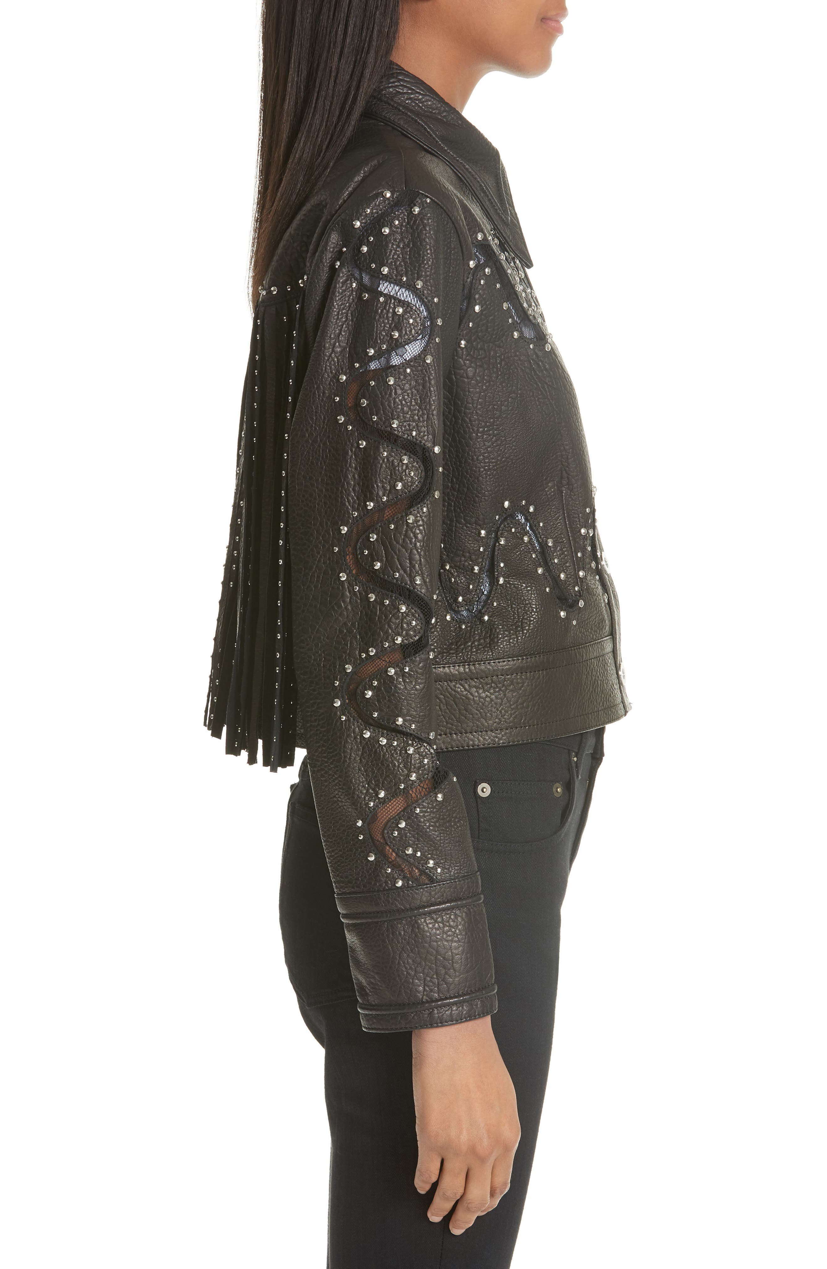 Studded Lace Inset Leather Jacket,                             Alternate thumbnail 3, color,                             010