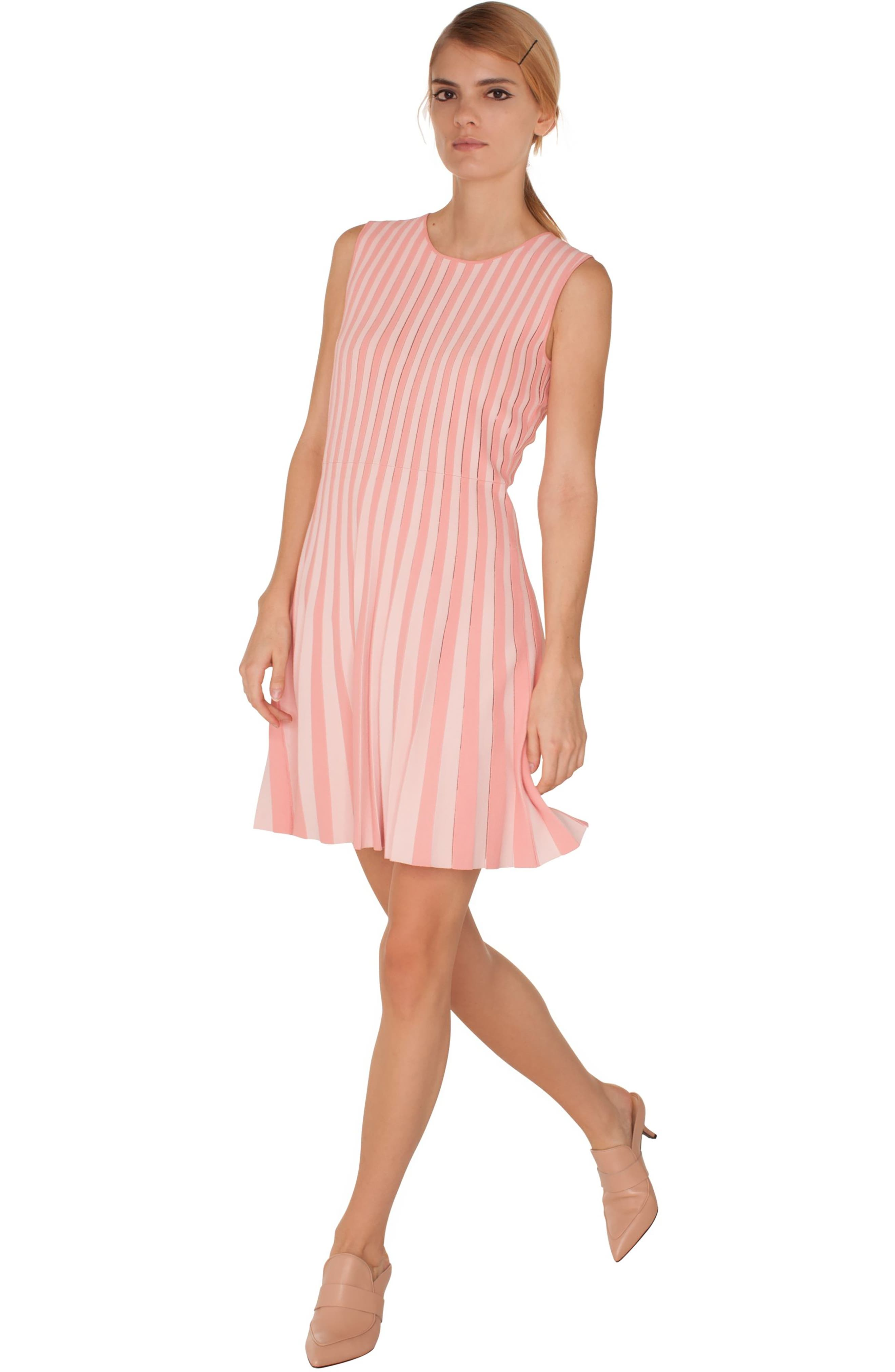 Stripe Pleated Dress,                             Alternate thumbnail 3, color,                             ROSE PINK-PEONY