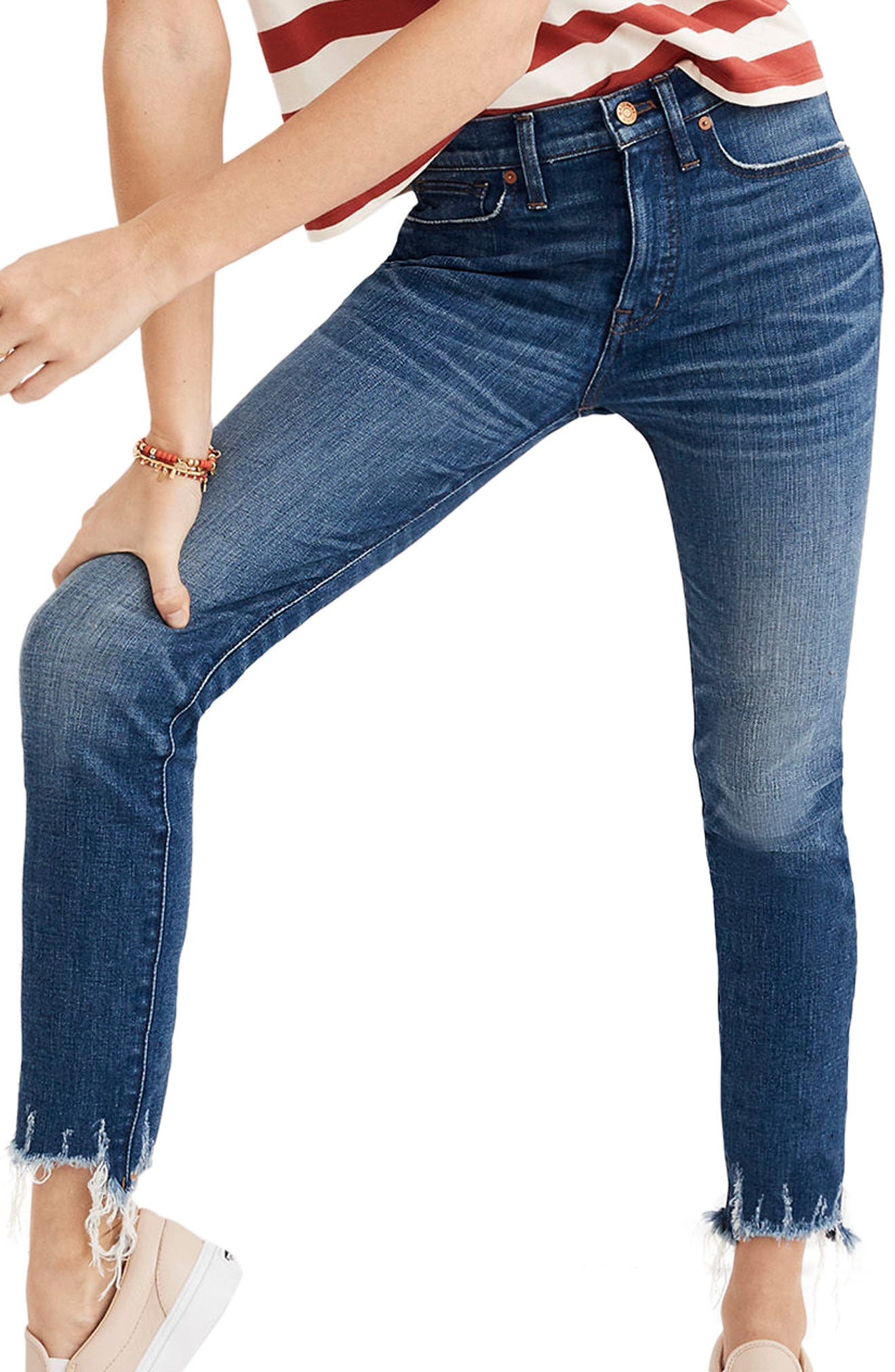 Destructed Hem High Waist Crop Skinny Jeans,                         Main,                         color, 400