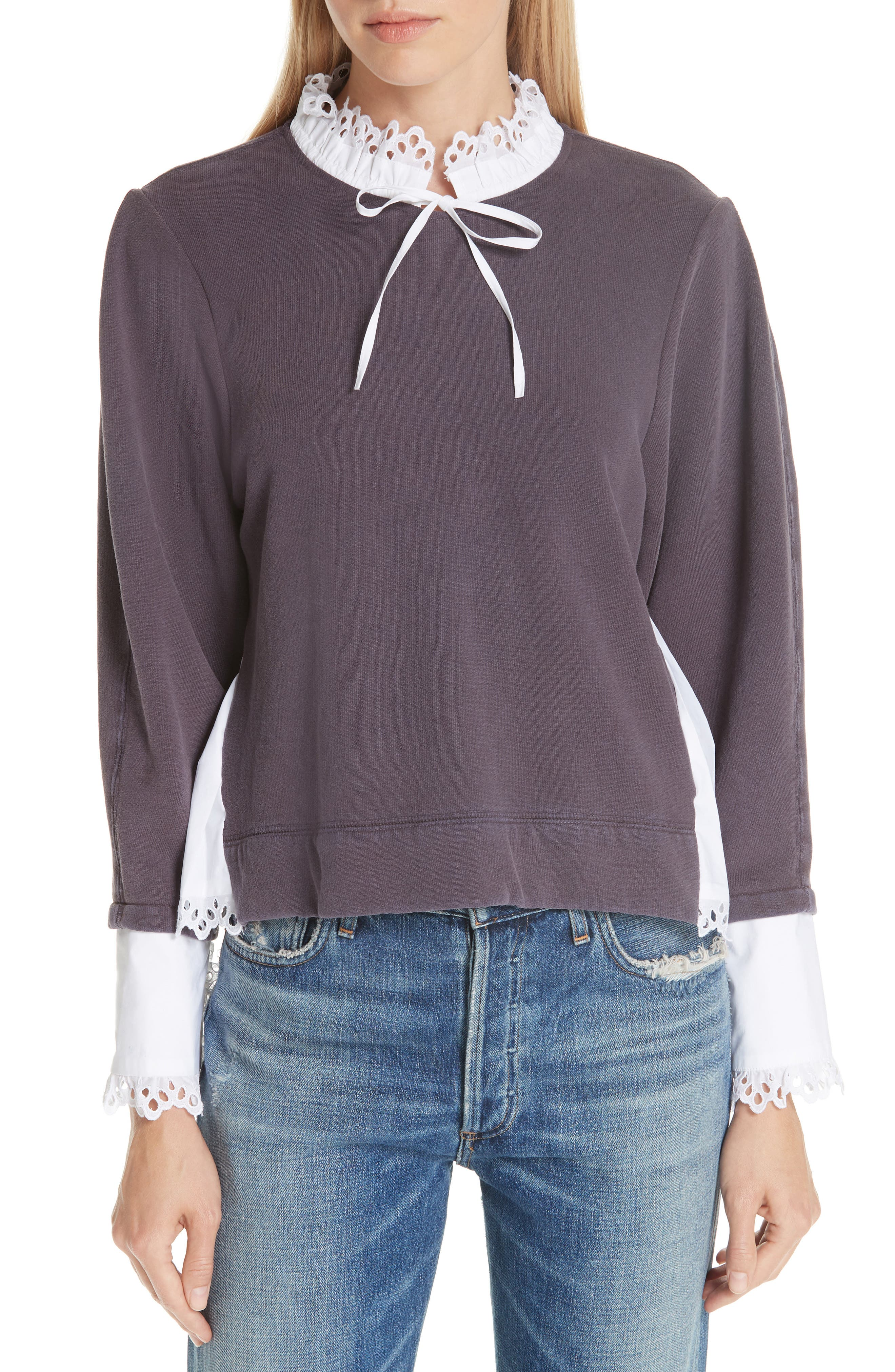 Eyelet Contrast Sweatshirt,                         Main,                         color, GREY/ WHITE COMBO