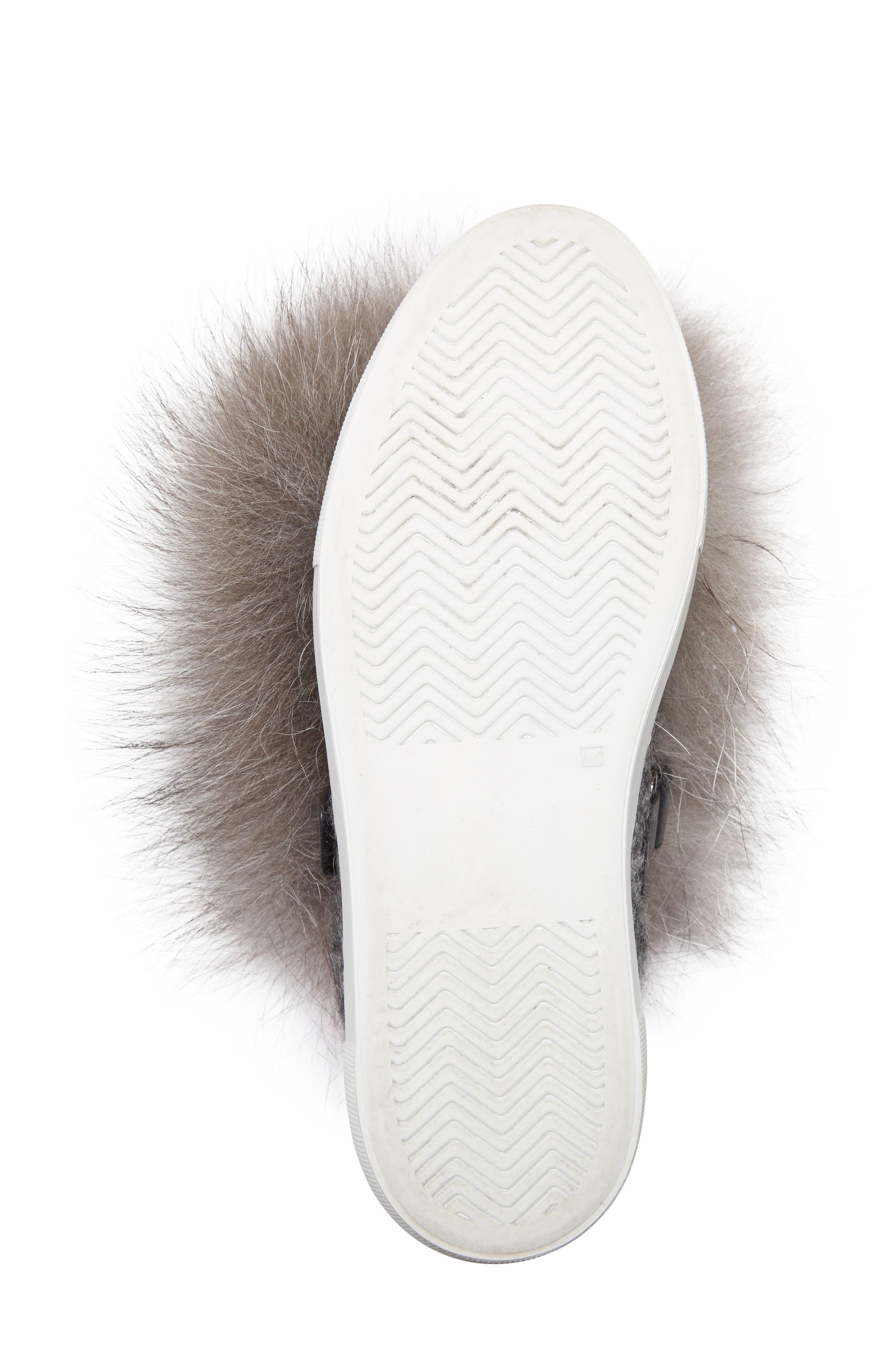 Victoire Genuine Fox Fur Slip-On Sneaker,                             Alternate thumbnail 6, color,                             020