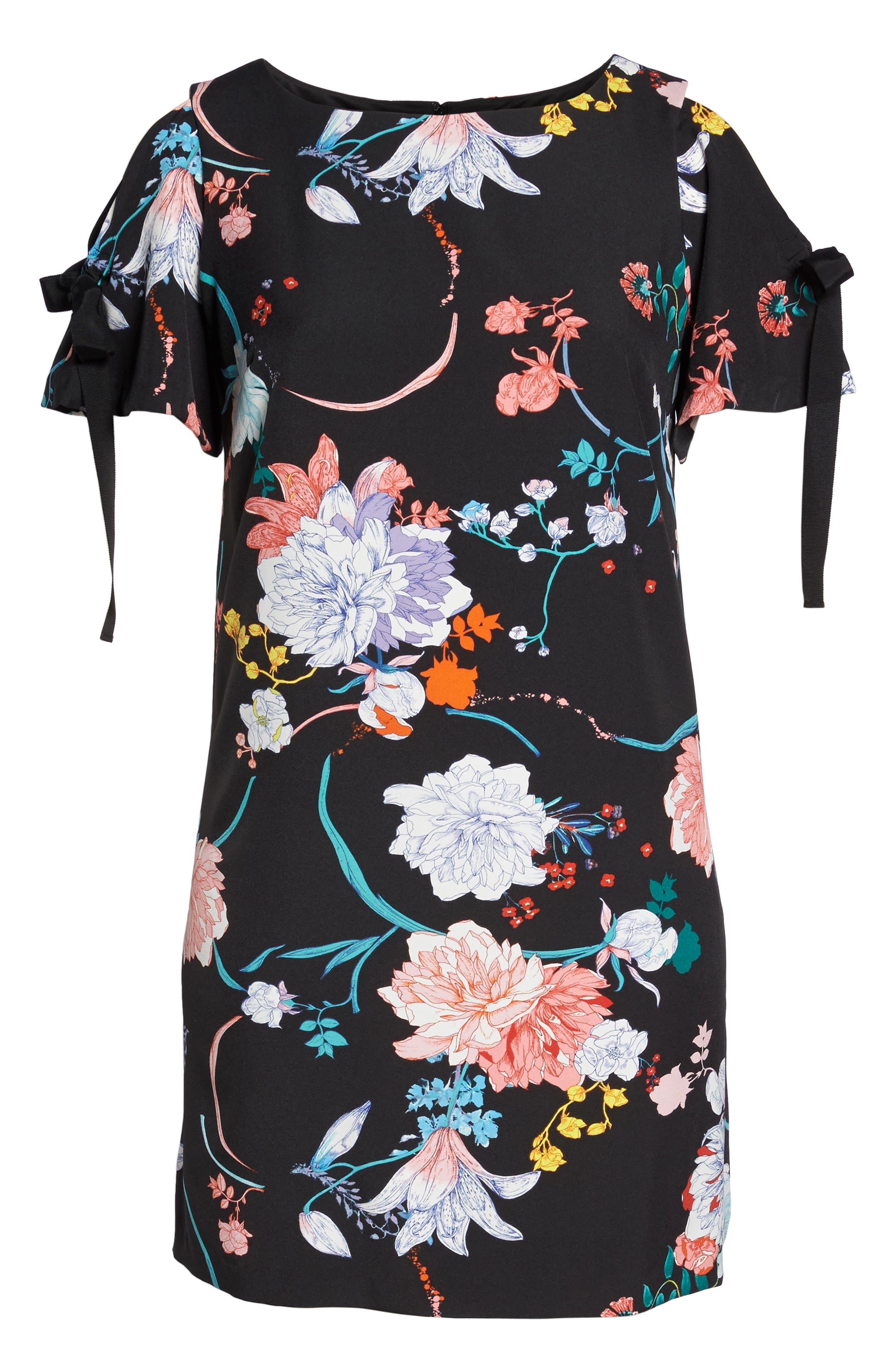 Zen Blosson Shift Dress,                             Alternate thumbnail 6, color,                             BLACK MULTI