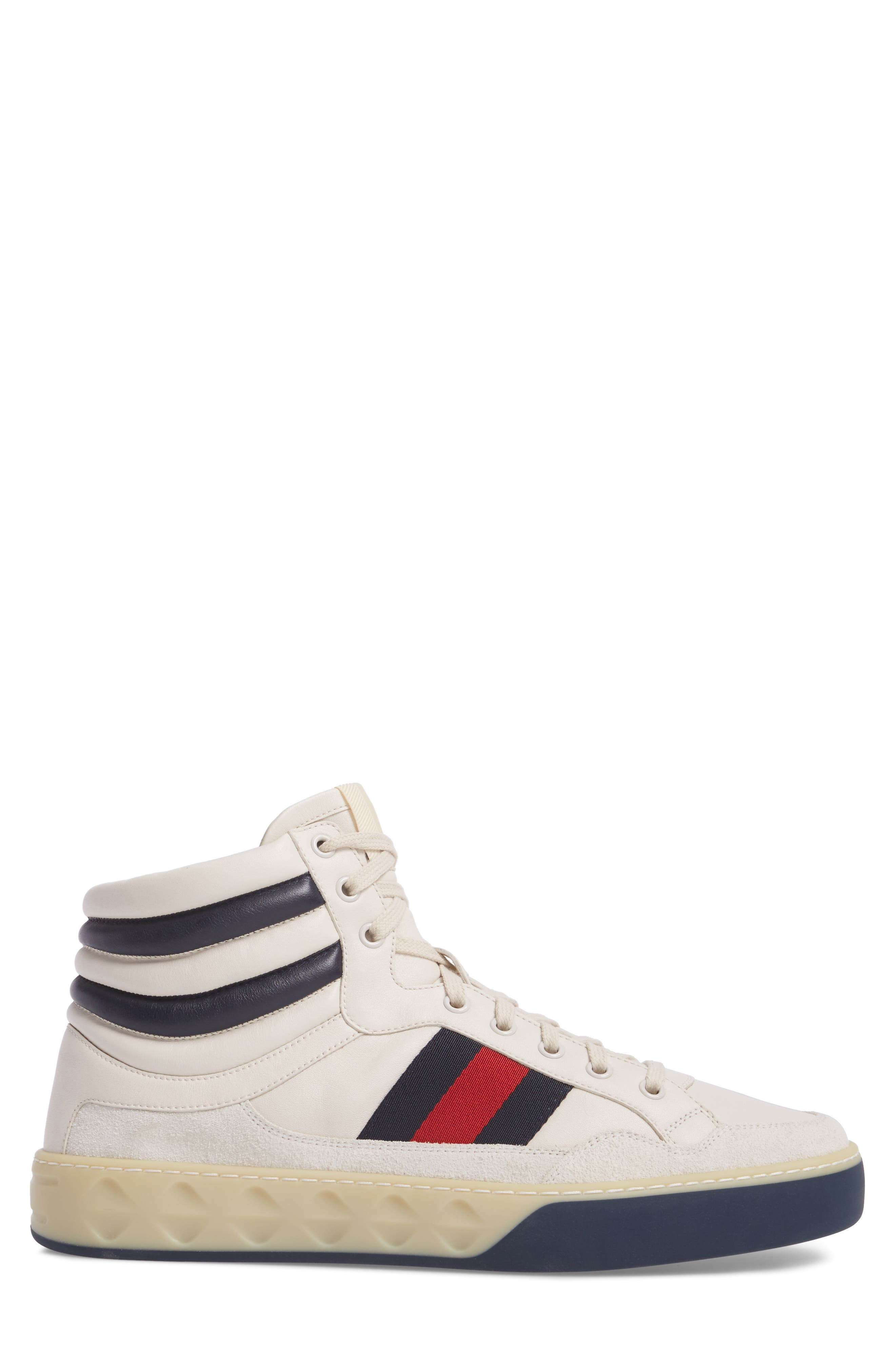 Leather High Top Sneaker,                             Alternate thumbnail 3, color,                             WHITE LEATHER/ SUEDE